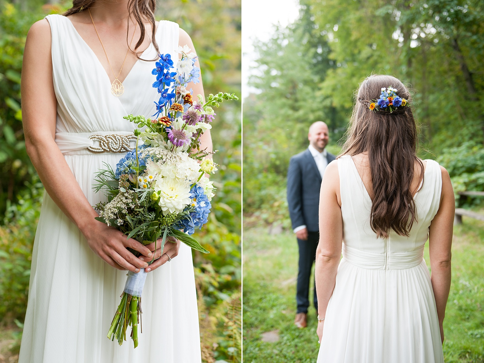 Wildflower bouquet and bridal hair comb for a rustic Massachusetts Berkshires wedding at Camp Wa Wa Segowea. Photos by Mikkel Paige Photography, destination wedding photographer.