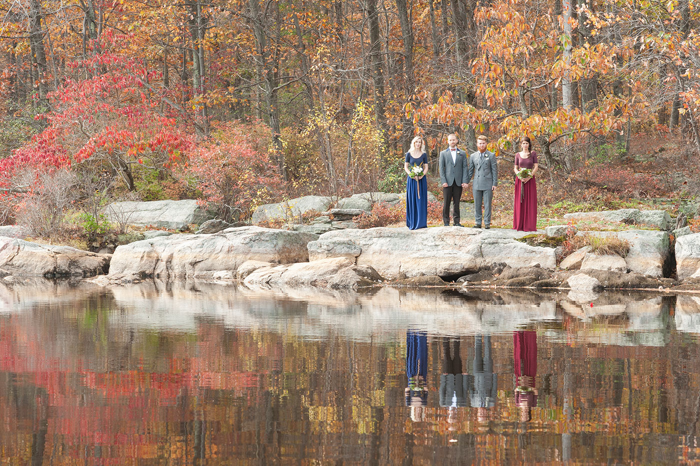 Gay wedding inspiration, photos by Mikkel Paige, Raleigh wedding photographer. Custom bridesmaids of navy and deep red by Synderella Story in New York. Lakeside, autumn inspiration.