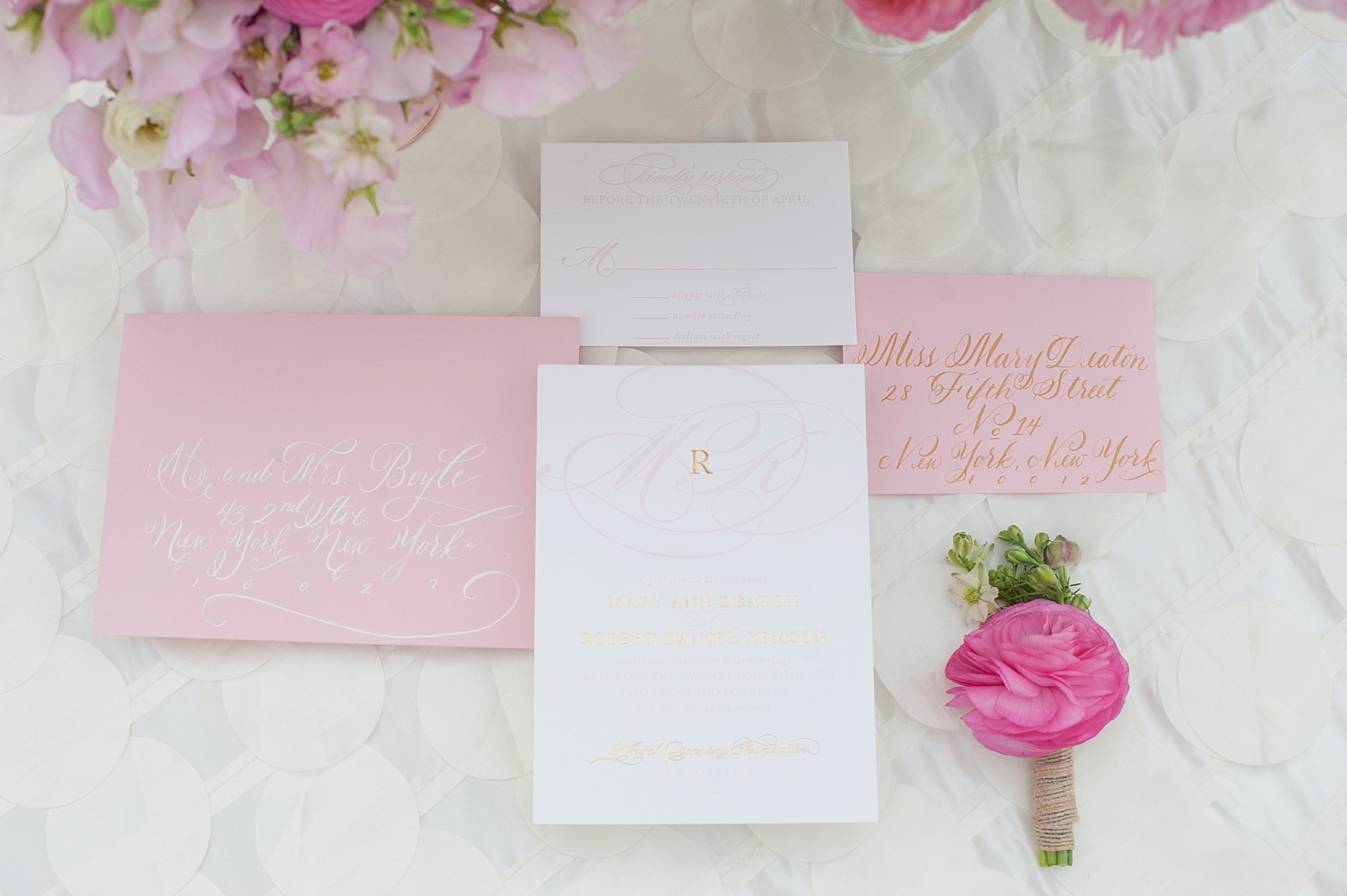 Pink And White Wedding Invitation Envelope Addressing Options By Raleigh Photographer Mikkel Paige