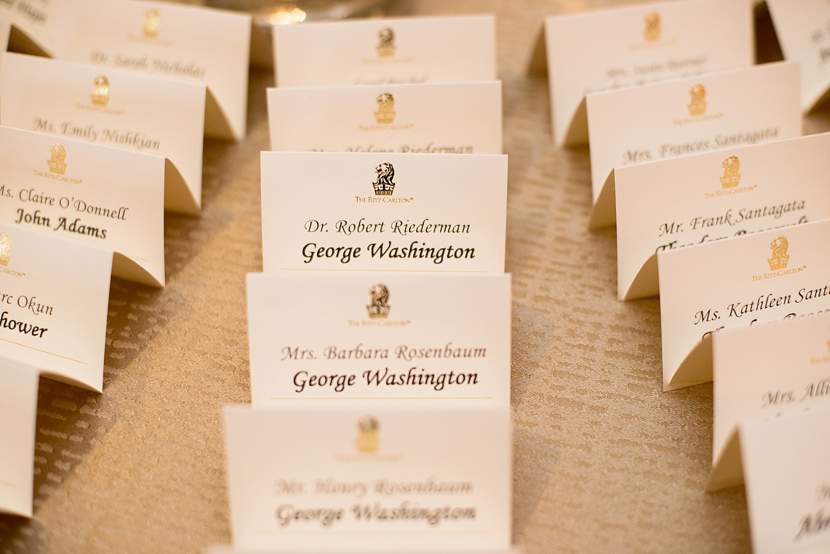 Escort cards were labeled with presidents names