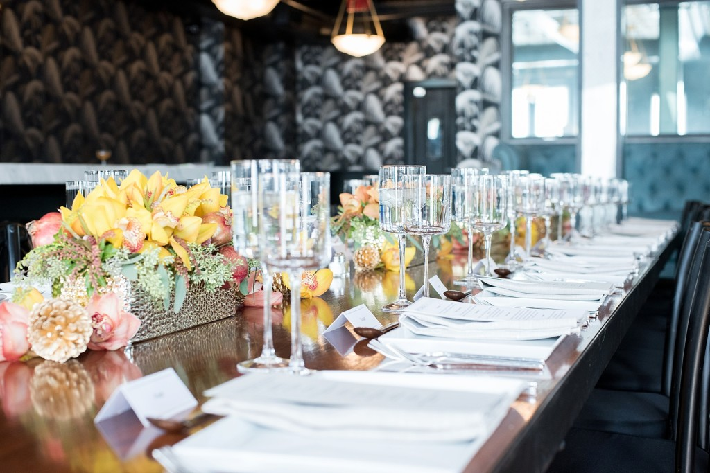 Photo by Mikkel Paige, Brooklyn wedding photographer. Flowers by The Arrangement NYC fall and autumn orchid ombre centerpieces at 501 Union.
