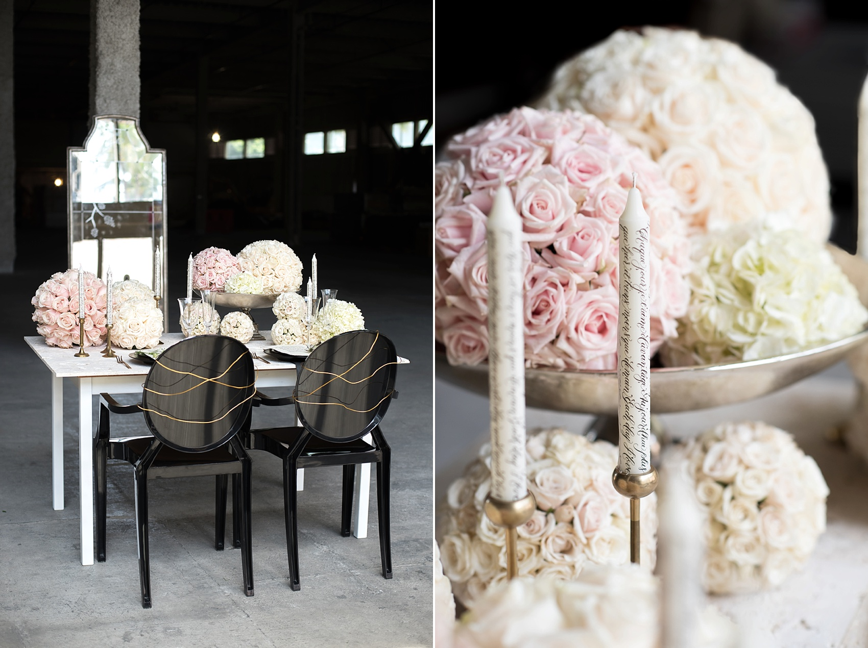 Destination wedding photographer Mikkel Paige captures a glamorous industrial bridal session in Hawaii with Burnett's Boards and Moana Events. Black, white, gold and soft pink.