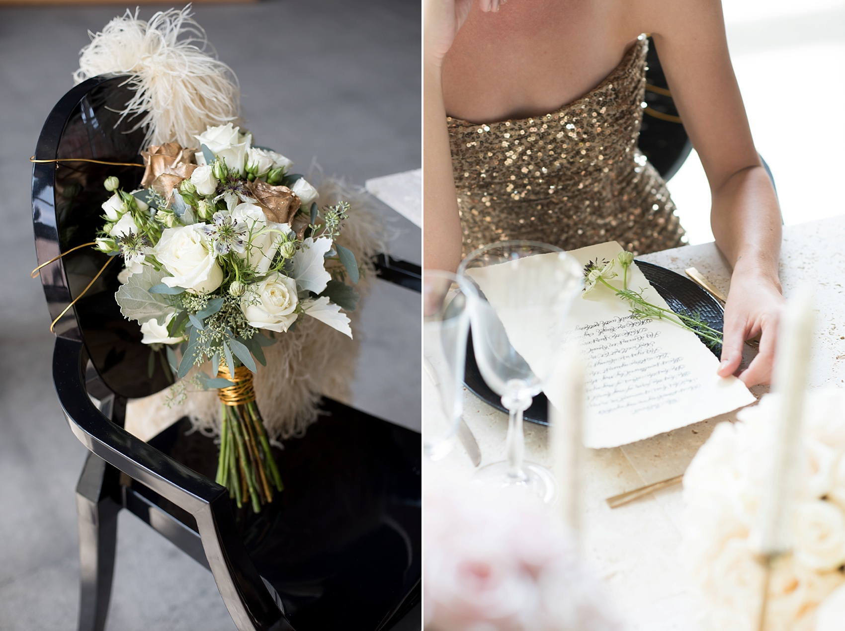 Destination wedding photographer Mikkel Paige captures a glamorous industrial bridal session in Hawaii with Burnett's Boards and Moana Events. Gold sequin gown from Rent the Runway and gold and white floral bouquet.
