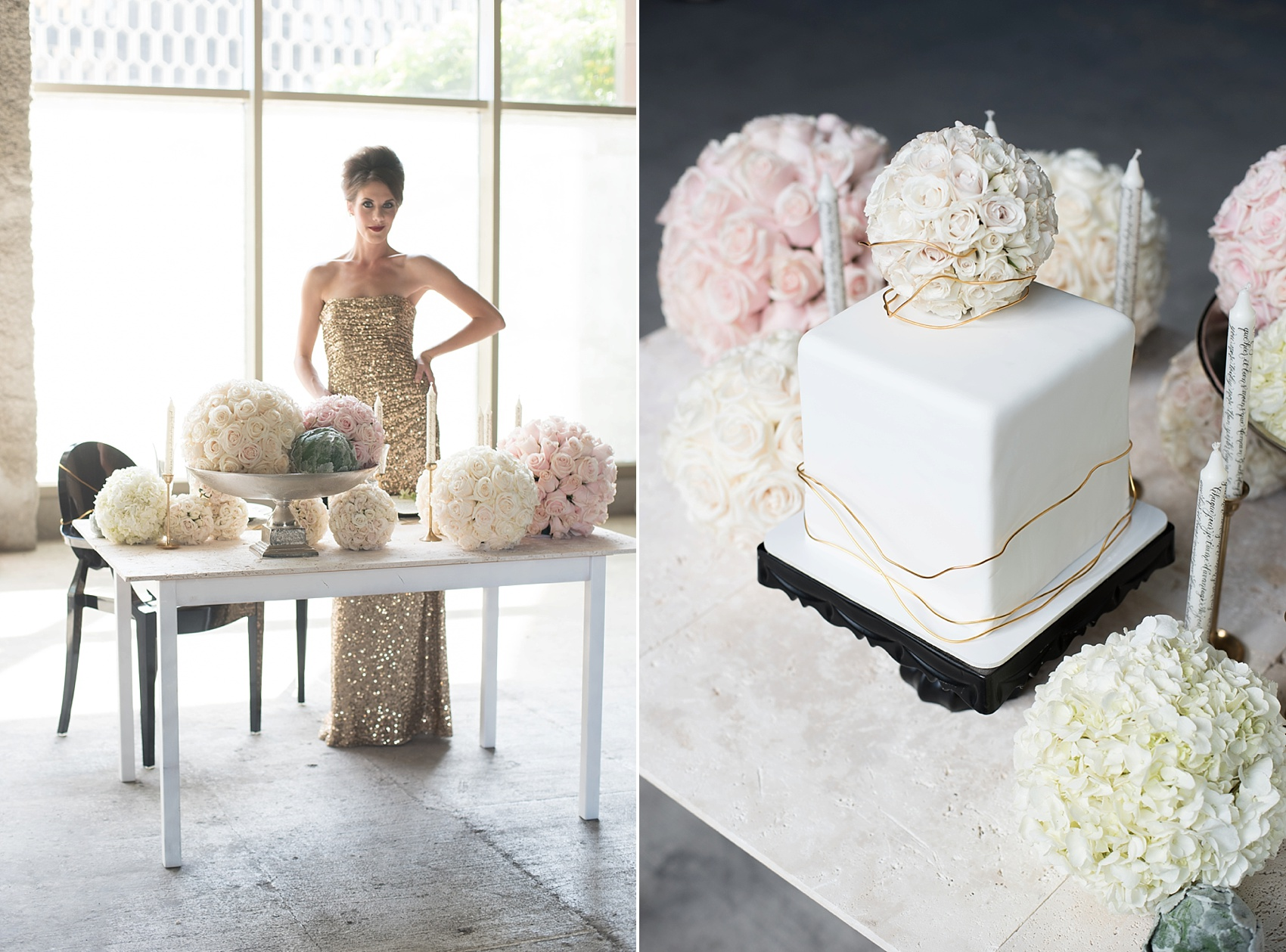 White square cake captured by destination wedding photographer Mikkel Paige captures a glamorous industrial bridal session in Hawaii with Burnett's Boards and Moana Events.