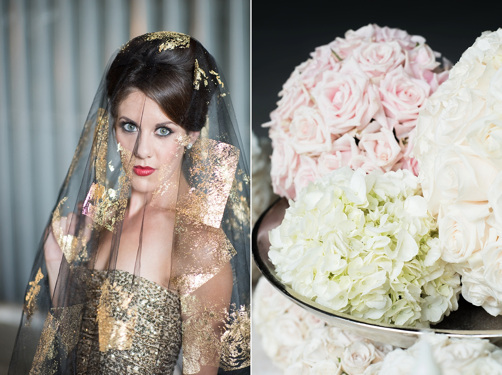 Destination wedding photographer Mikkel Paige captures a glamorous industrial bridal session in Hawaii with Burnett's Boards and Moana Events. Gold sequin gown from Rent the Runway with the bride in a black veil and gold and white bouquet.