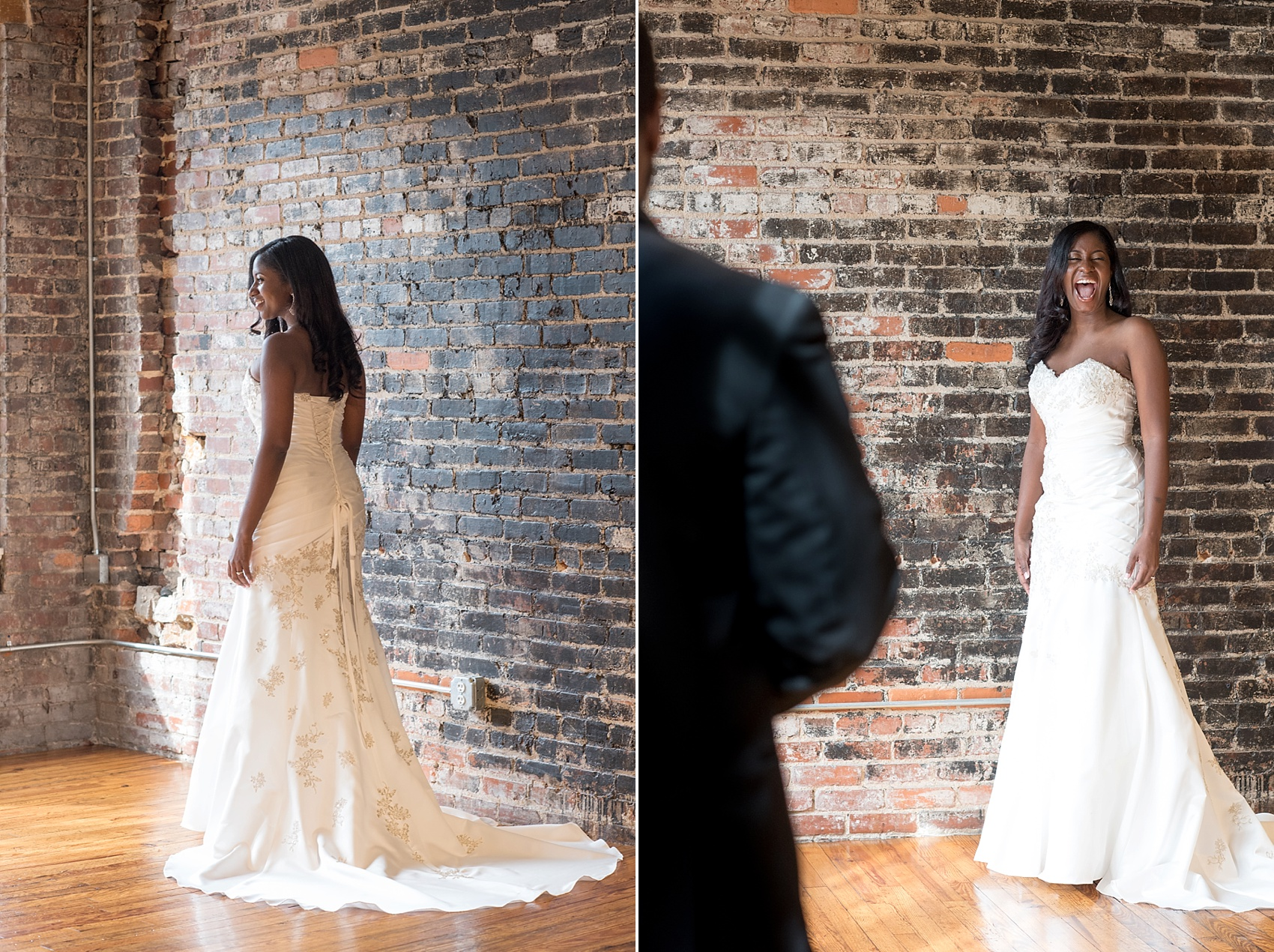Raleigh wedding photographer Mikkel Paige Photography captures a laughing bride at The Stockroom.