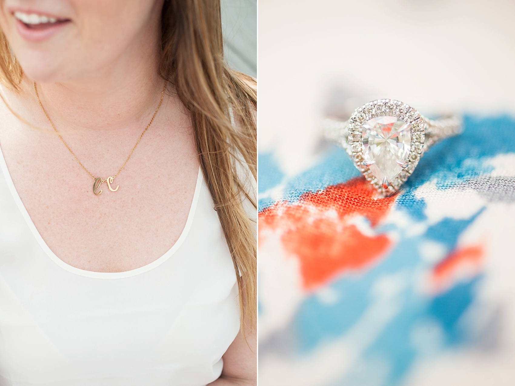 Hoboken engagement photos by Mikkel Paige Photography, NYC and NJ wedding photographer. Teardrop wedding ring and initial necklace.