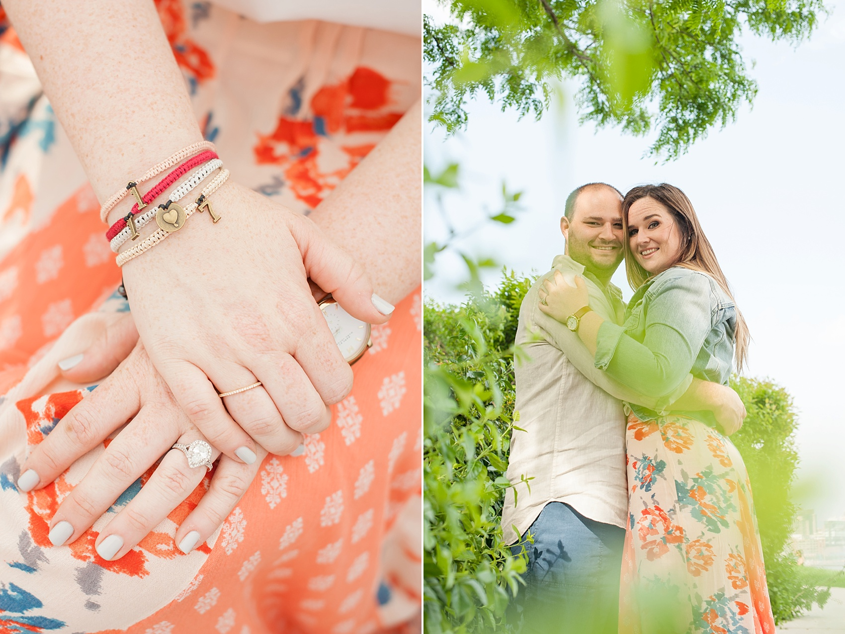 Hoboken engagement photos by Mikkel Paige Photography, NYC and NJ wedding photographer. Custom wedding date bracelets by the bride, available on Etsy shop Grande Strands.