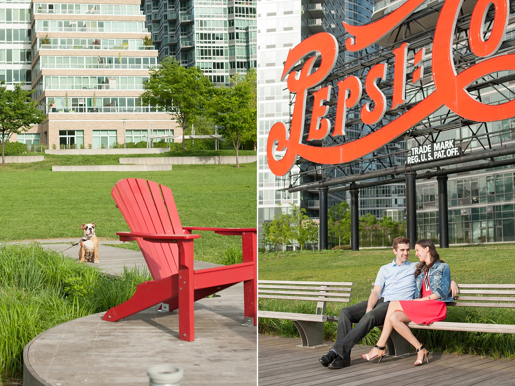 Long Island City waterfront engagement session at Gantry State Park by Mikkel Paige Photography, NYC wedding photographer. The park is famous for vintage its Pepsi Cola sign.