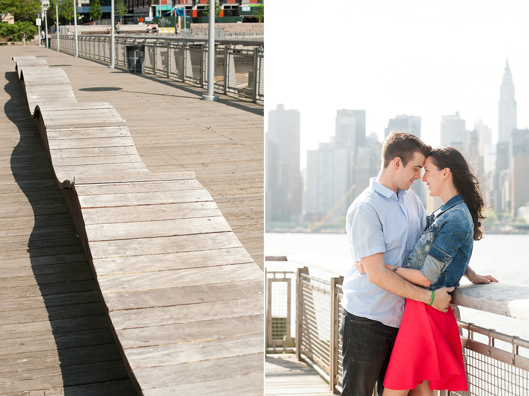 Long Island City waterfront engagement session at Gantry State Park by Mikkel Paige Photography, NYC wedding photographer. The park overlooks the Manhattan/NYC Skyline.