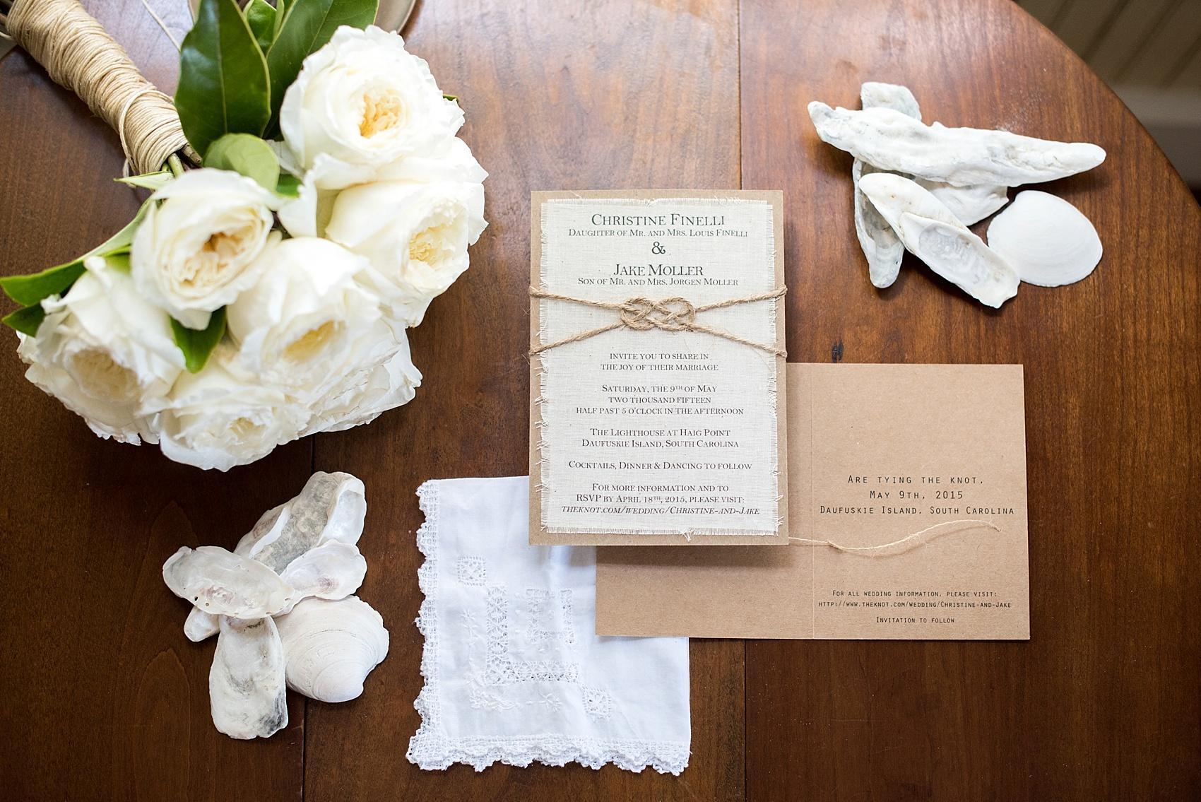 Southern beach wedding invitation. Photos by Mikkel Paige for a Hilton Head, Haig Point wedding.
