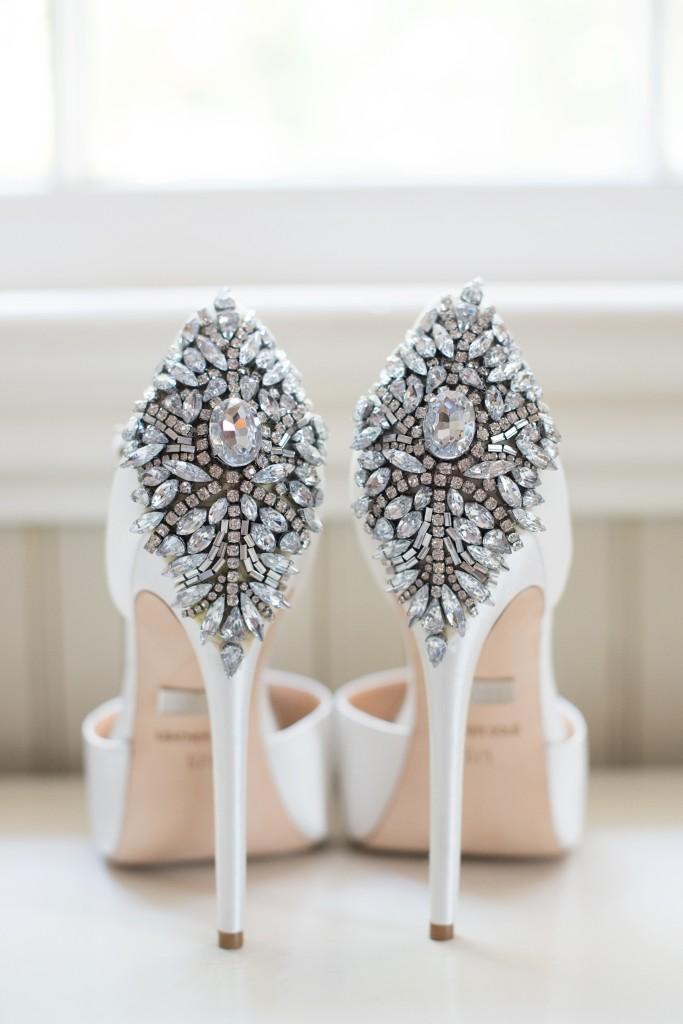 Southern wedding Badgley Mischka white rhinestone shoes. Photo by Mikkel Paige for a Hilton Head, Haig Point wedding.