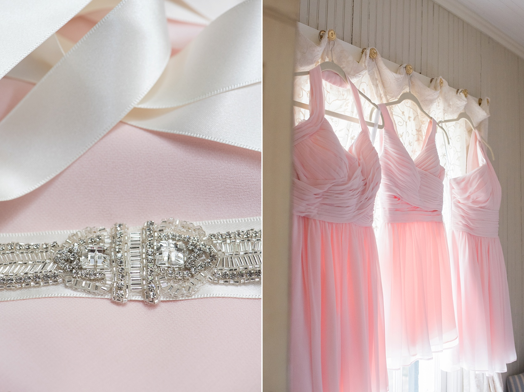 Southern wedding light pink short bridesmaids dresses. Photo by Mikkel Paige for a Hilton Head, Haig Point wedding.