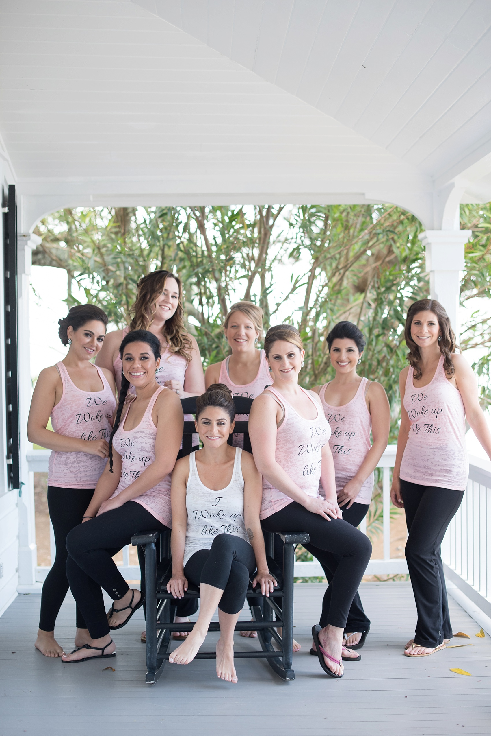 """""""I woke up like this"""" wedding day tank tops for the bridesmaids! Southern wedding in South Carolina. Photos by Mikkel Paige for a Hilton Head, Haig Point."""