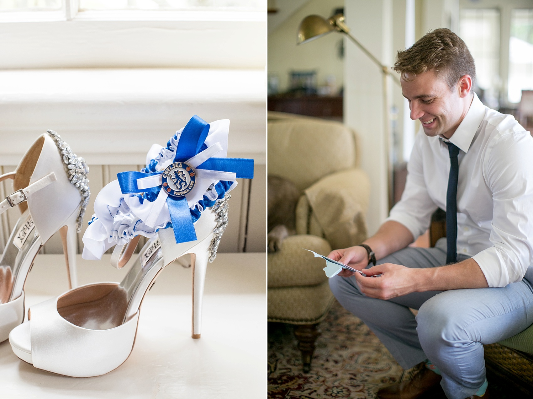 Custom soccer team garter for a southern wedding in South Carolina. Photos by Mikkel Paige in Hilton Head, Haig Point.