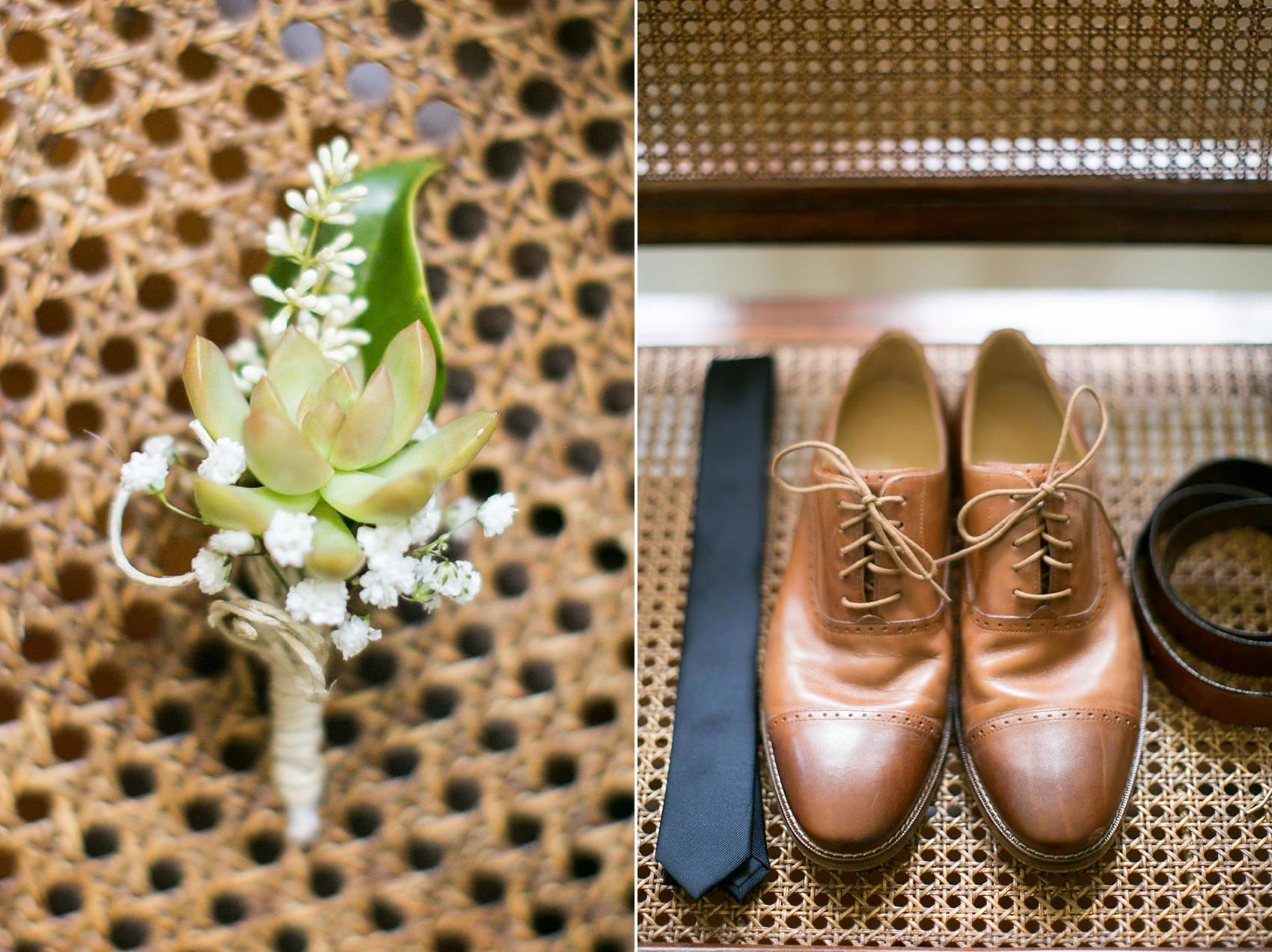 Groom details for a southern wedding - photos by Mikkel Paige in Hilton Head, Haig Point, South Carolina. Brown leather shoes and a succulent boutonniere.