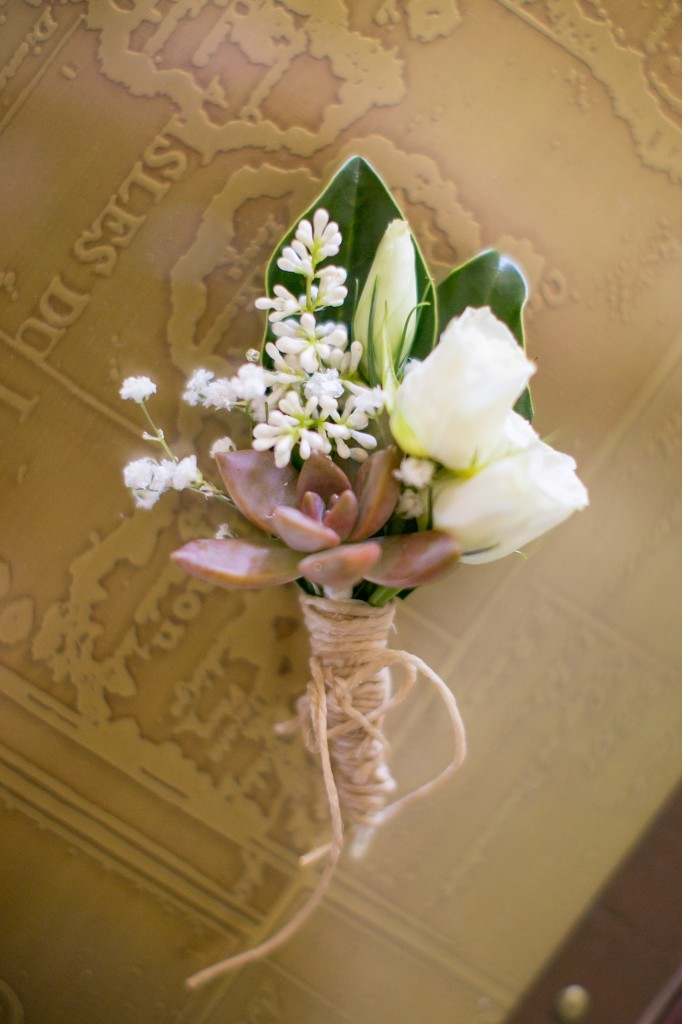 Succulent boutonniere for a southern wedding - photos by Mikkel Paige in Hilton Head, Haig Point, South Carolina.