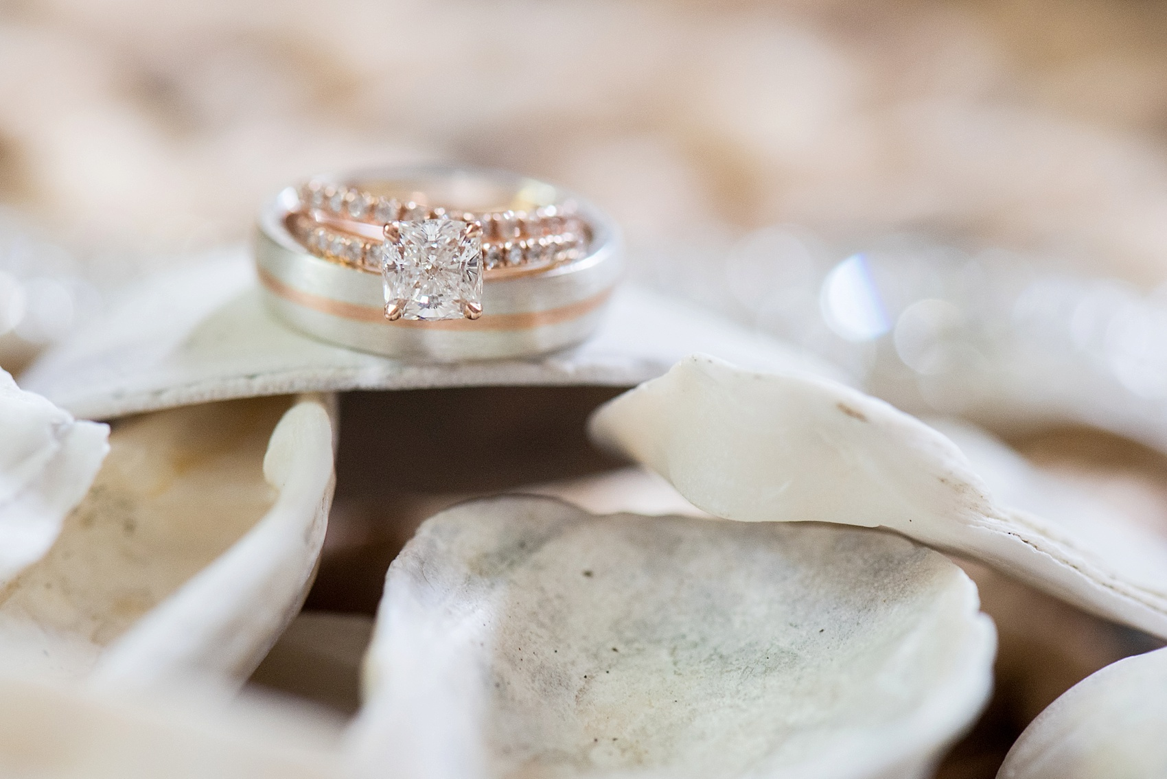 Rose gold rings for a southern wedding complete with oyster shells. Ring shot detail photo by Mikkel Paige in Hilton Head, Haig Point, South Carolina.