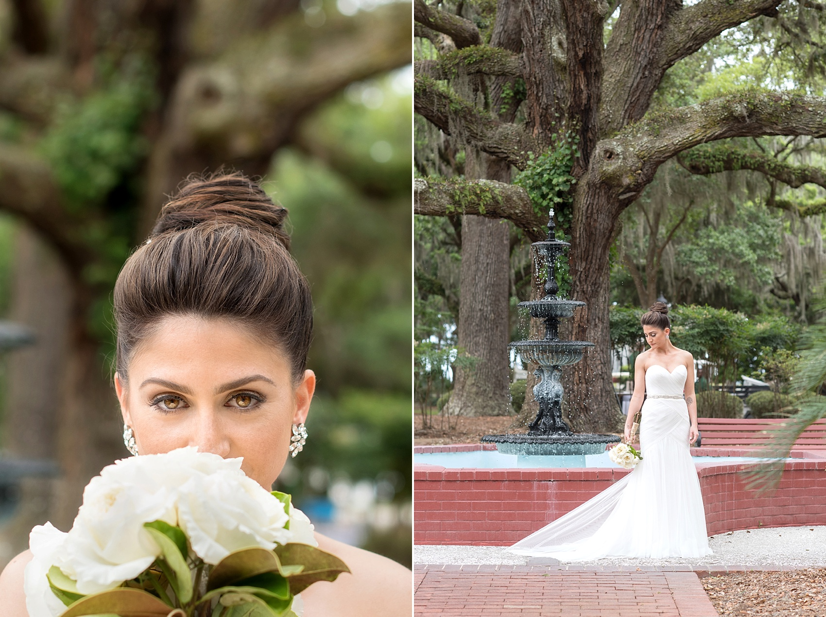 WToo by Watters wedding gown for this southern bride amidst beautiful Spanish Moss. Photos by Mikkel Paige in Hilton Head, Haig Point, South Carolina.