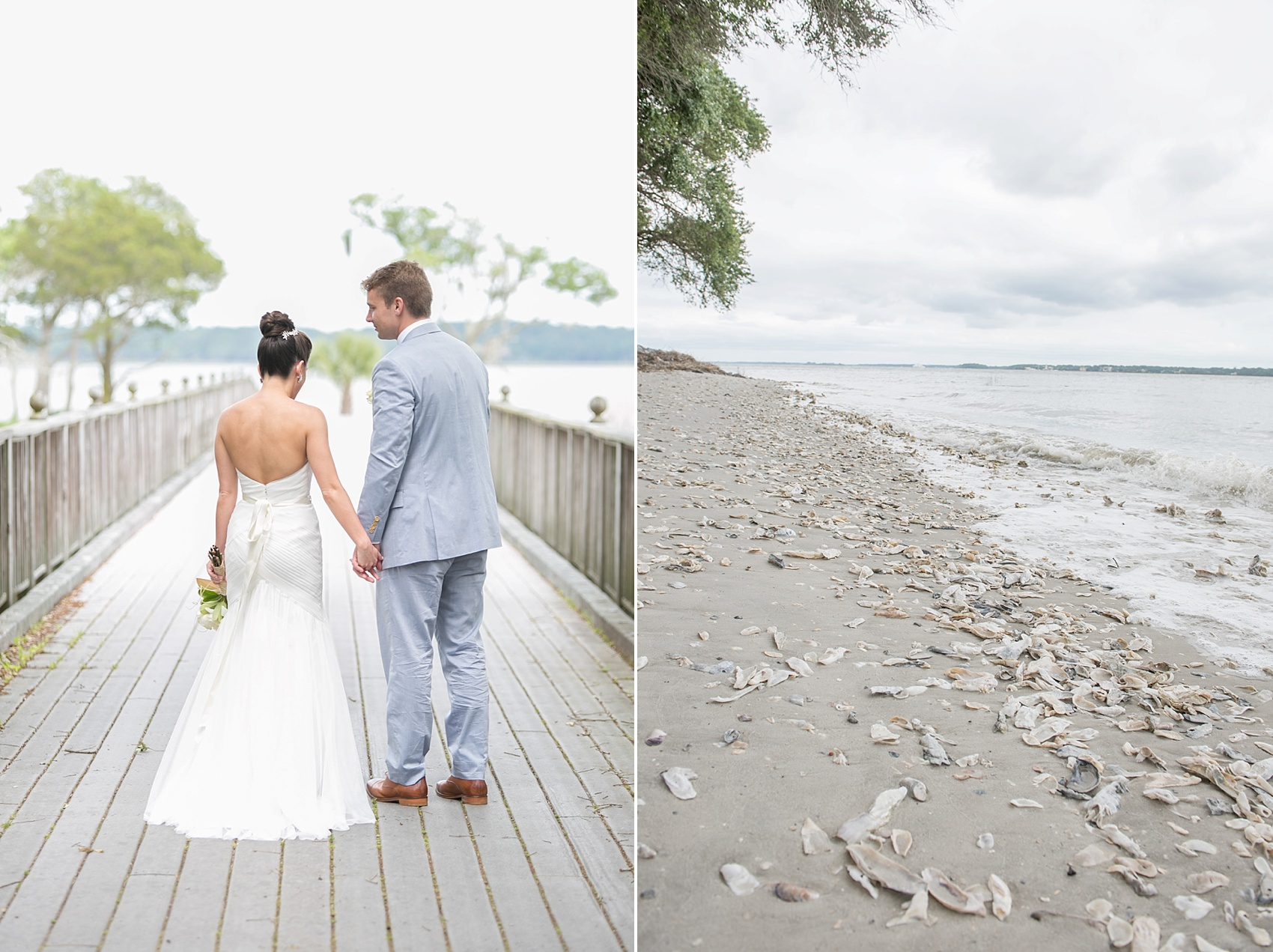 Bride and groom waterfront photos in Haig Point, South Carolina, off the coast of Hilton Head. Photos by Mikkel Paige Photography. Oyster shells simply wash up on the shore here!