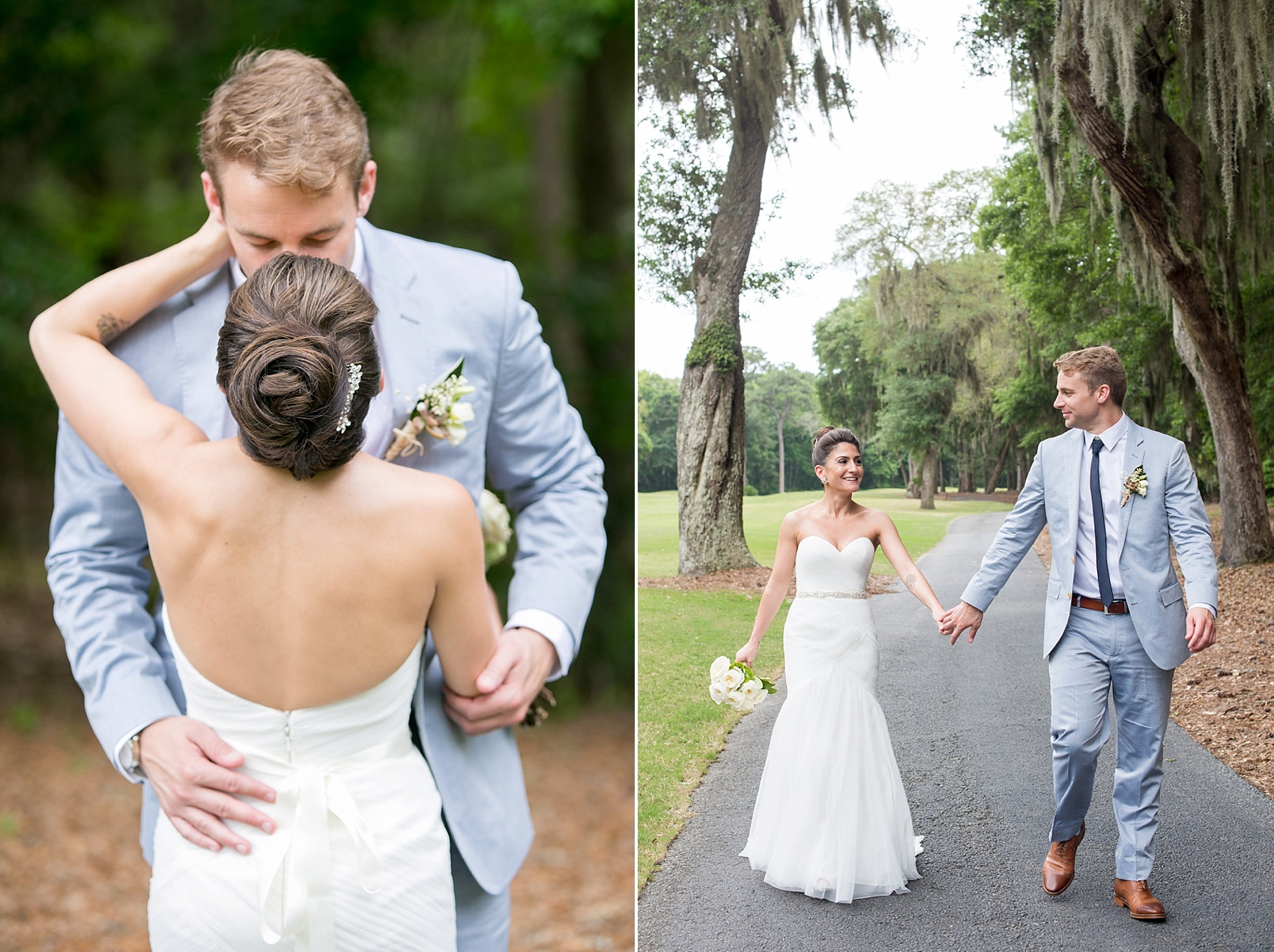 Bride and groom photos in Haig Point, South Carolina, off the coast of Hilton Head on the golf course at Daufuskie Island. Photos by Mikkel Paige Photography.