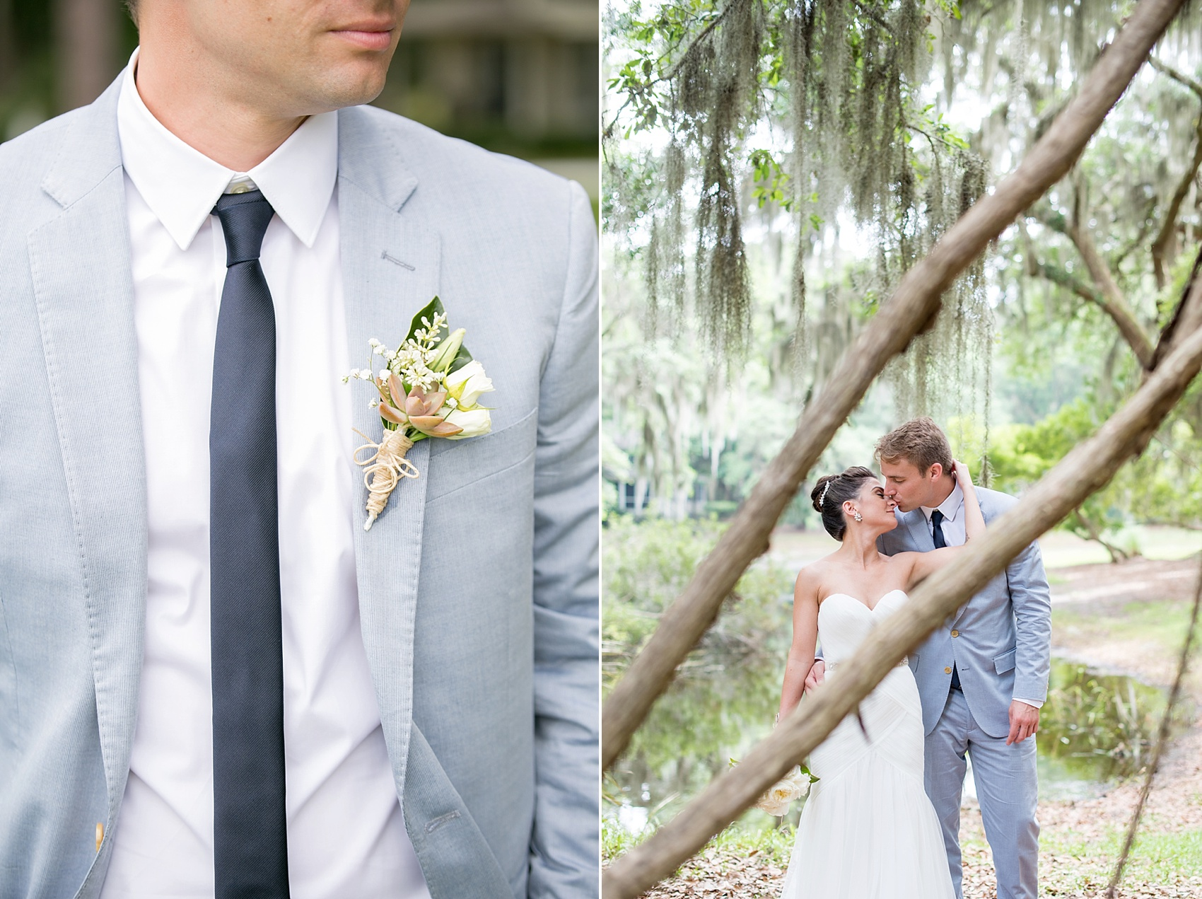 Bride and groom photos in Haig Point, South Carolina, off the coast of Hilton Head amidst Spanish Moss at Daufuskie Island. Photos by Mikkel Paige Photography. Succulent boutonniere on the groom's blue seersucker suit.