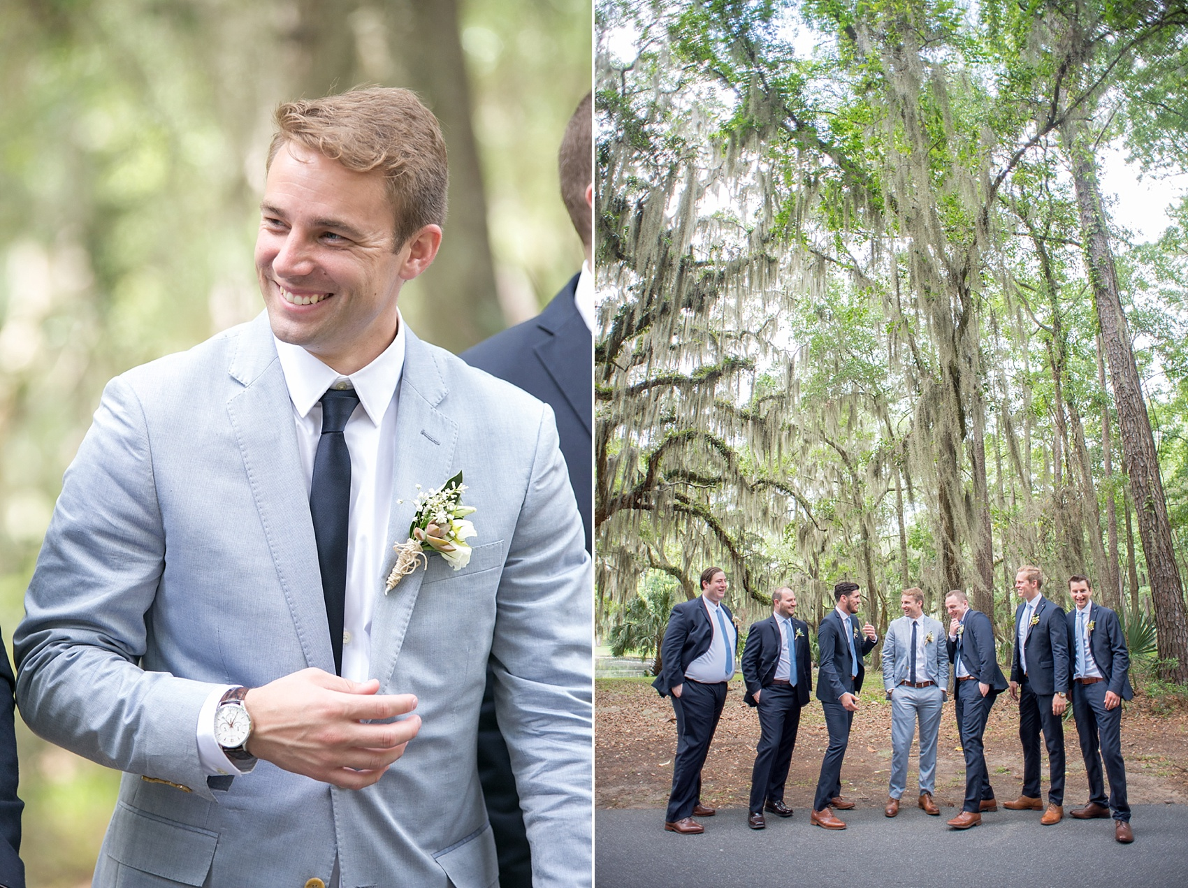 Navy groomsmen photos in Haig Point, South Carolina, off the coast of Hilton Head. Photos by Mikkel Paige Photography. Succulent boutonnieres complete their look.