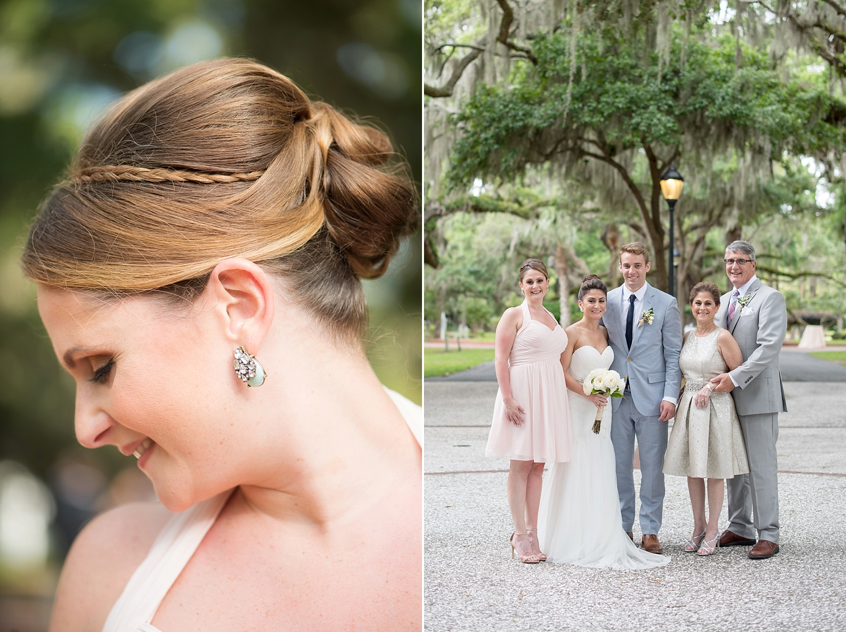Bridesmaids in short pink Bill Levkoff dresses with Baby's Breath and Magnolia Leaf bouquets, and Anthropologie earrings. Wedding party at Haig Point, South Carolina, off the coast of Hilton Head. Photos by Mikkel Paige Photography.