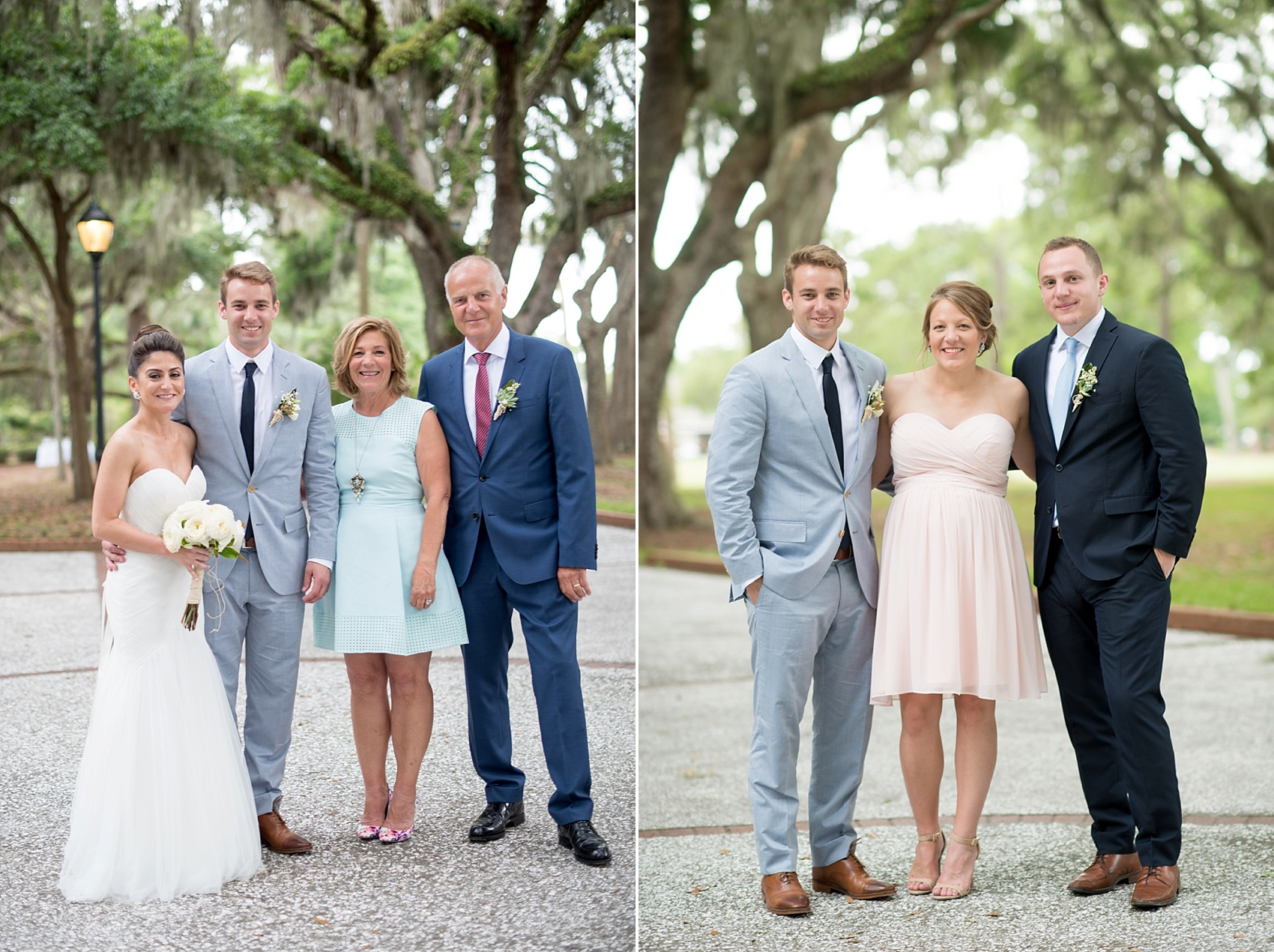 Family photos amidst Spanish Moss for a Haig Point wedding in South Carolina, off the coast of Hilton Head. Photos by Mikkel Paige Photography.