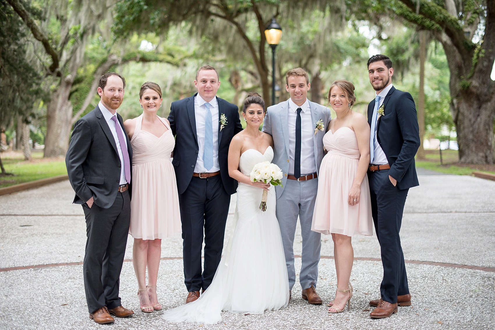 Sibling wedding photo amidst Spanish Moss for a Haig Point wedding in South Carolina, off the coast of Hilton Head. Photos by Mikkel Paige Photography.