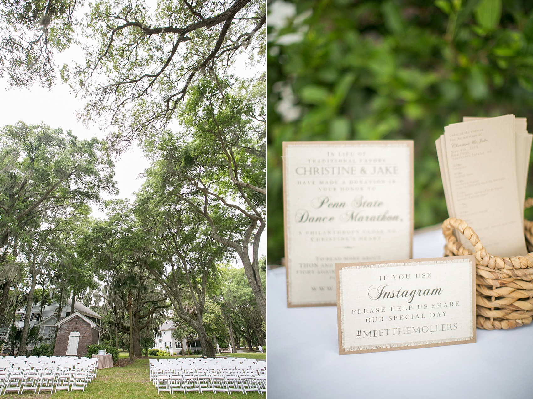 Wedding ceremony amidst Spanish Moss for a Haig Point wedding in South Carolina, off the coast of Hilton Head. Photos by Mikkel Paige Photography.