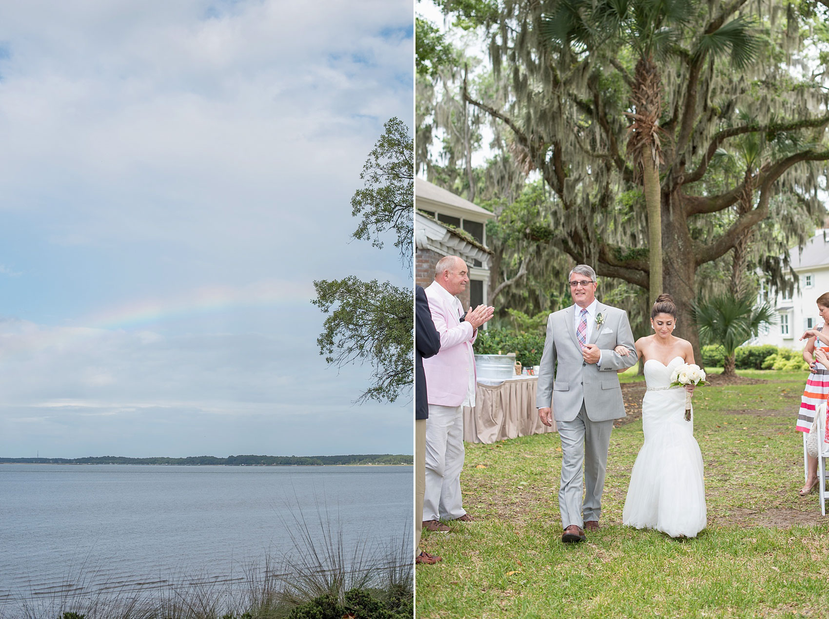 Wedding ceremony amidst Spanish Moss for a Haig Point wedding in South Carolina, off the coast of Hilton Head. A rainbow appeared just before the ceremony! Photos by Mikkel Paige Photography.