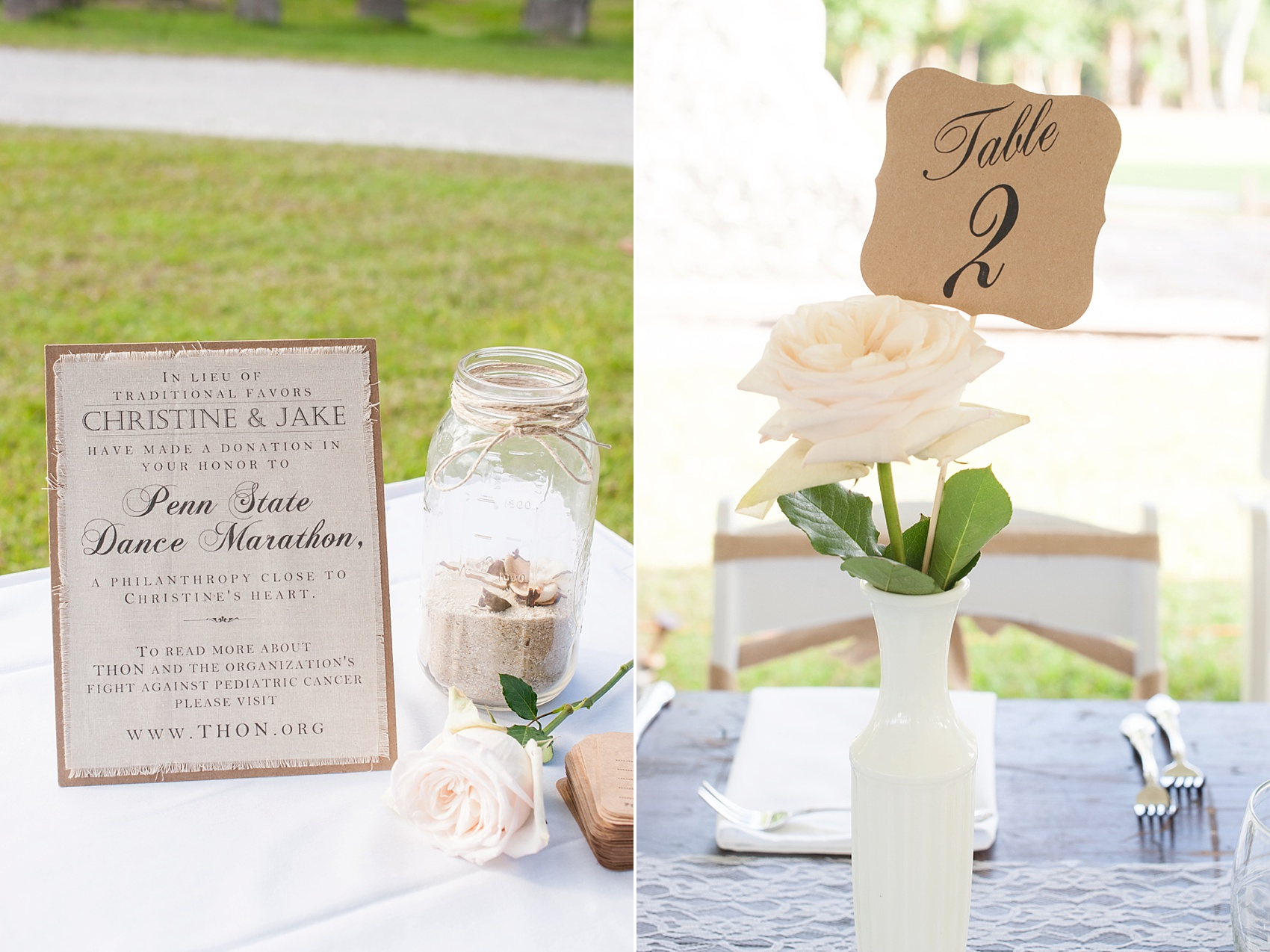 Tented wedding reception for a Haig Point wedding in South Carolina, off the coast of Hilton Head. Farm tables and white roses and vases complete the look. Photos by Mikkel Paige Photography. A donation was made to Thon for Penn State in lieu of physical favors.