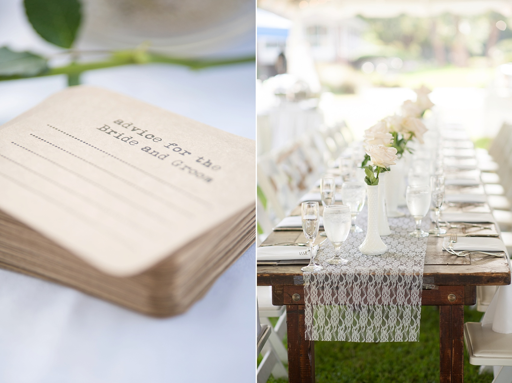 Tented wedding reception for a Haig Point wedding in South Carolina, off the coast of Hilton Head. Farm tables and white roses and vases complete the look. Photos by Mikkel Paige Photography. Advice cards were available too!