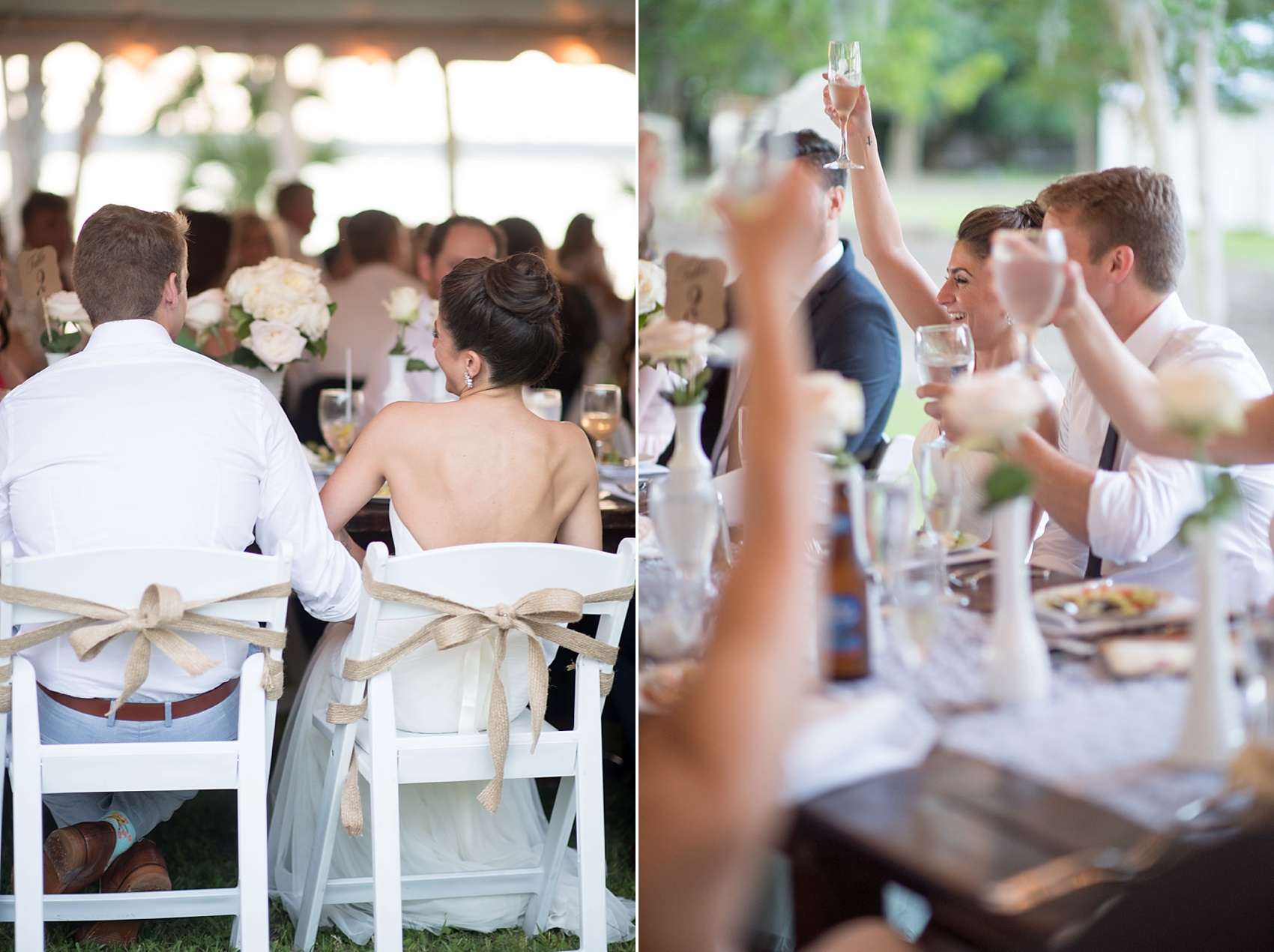 Toasts for the bride and groom at a wedding at Haig Point in South Carolina, off the coast of Hilton Head. Photos by Mikkel Paige Photography.