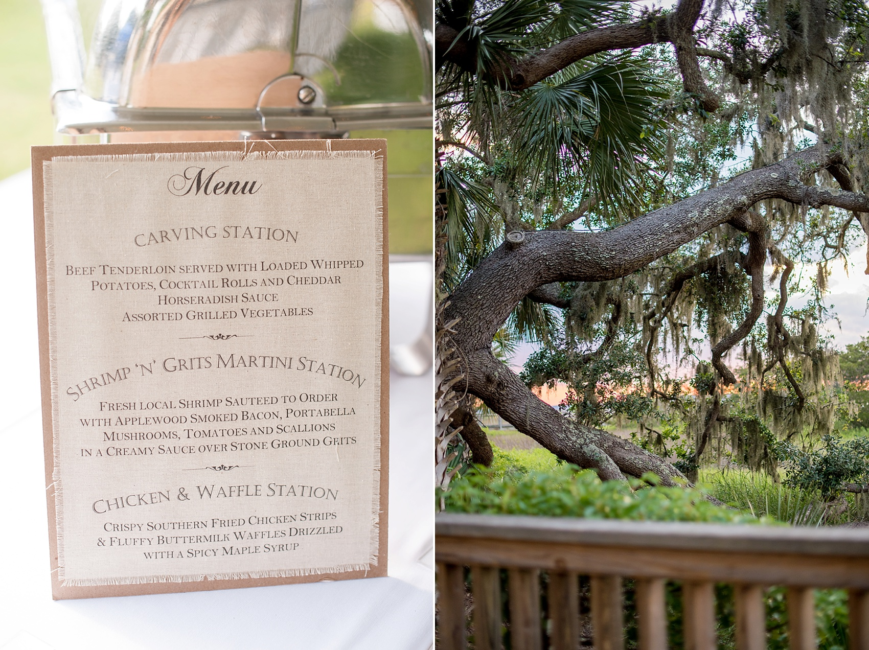 Sunset and dinner menu at a wedding at Haig Point in South Carolina, off the coast of Hilton Head. Photos by Mikkel Paige Photography.