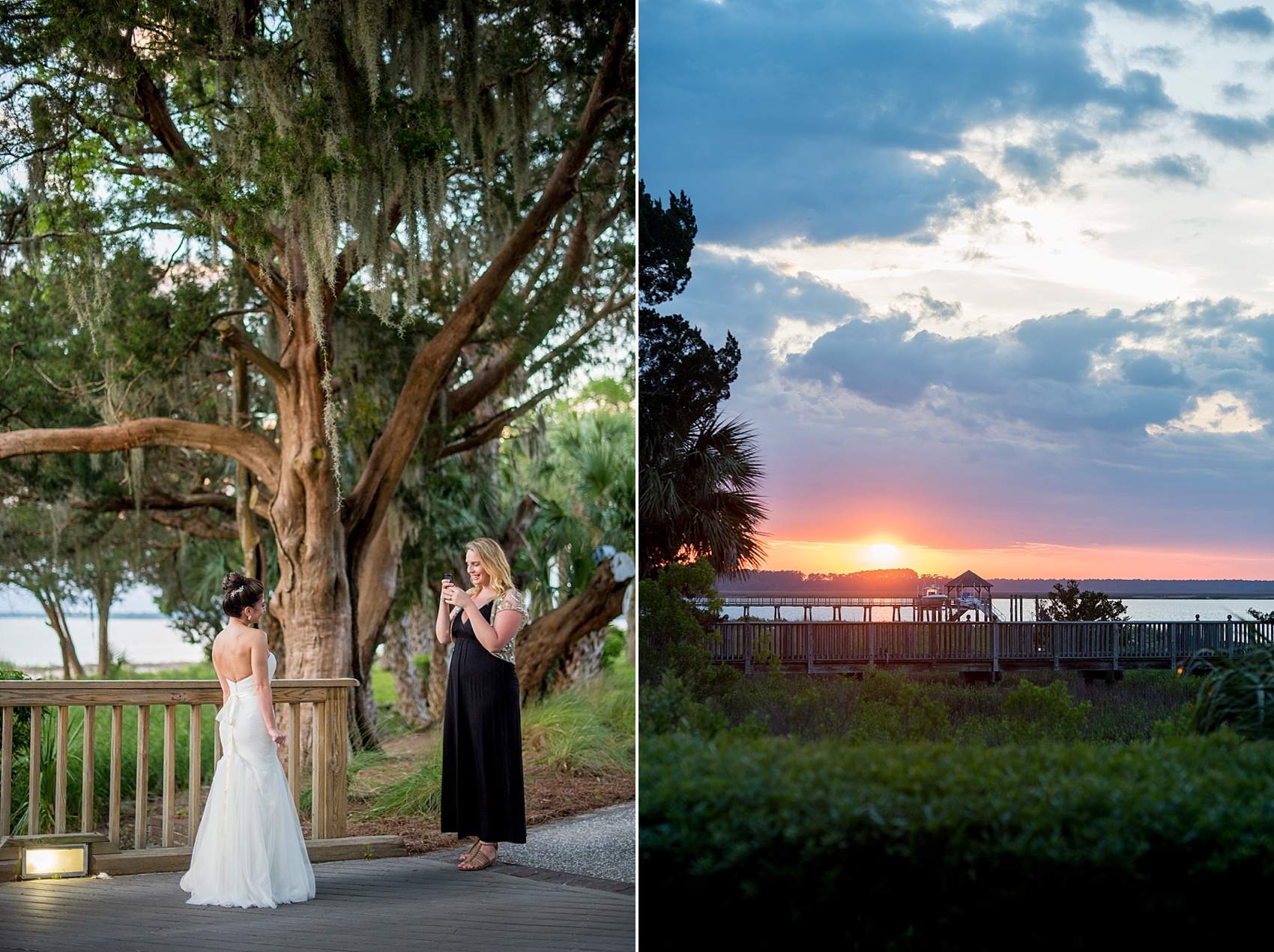 Sunset at a wedding at Haig Point in South Carolina, off the coast of Hilton Head. Photos by Mikkel Paige Photography.