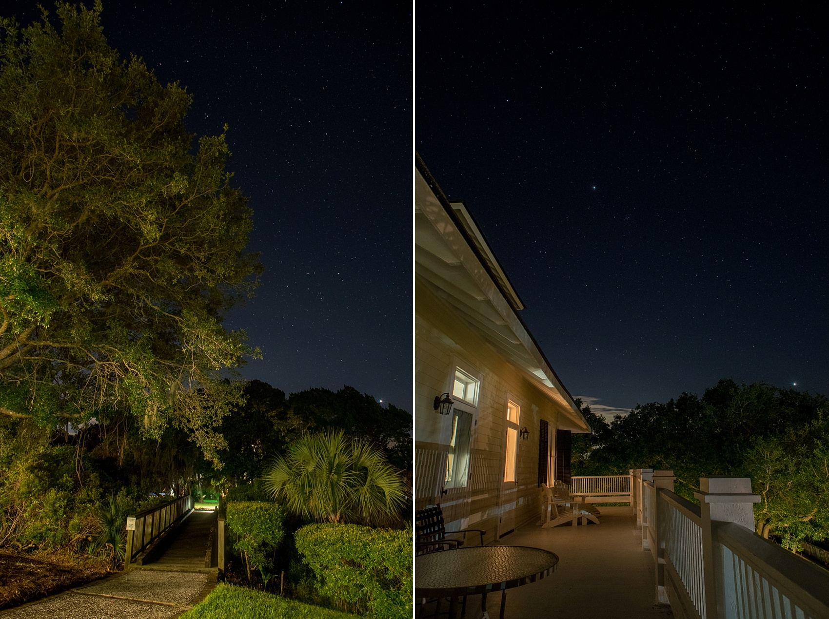Night photography with starry skies at a wedding at Haig Point in South Carolina, off the coast of Hilton Head. Photos by Mikkel Paige Photography.