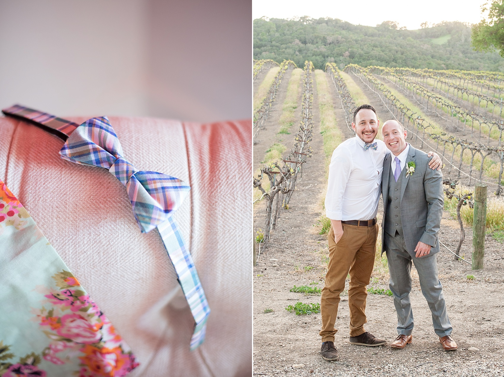 Groom prepares for his vineyard elopement with Mikkel Paige, destination wedding photographer. Held at HammerSky Vineyard, south of San Francisco. Plaid bow tie was a gift for the best man!