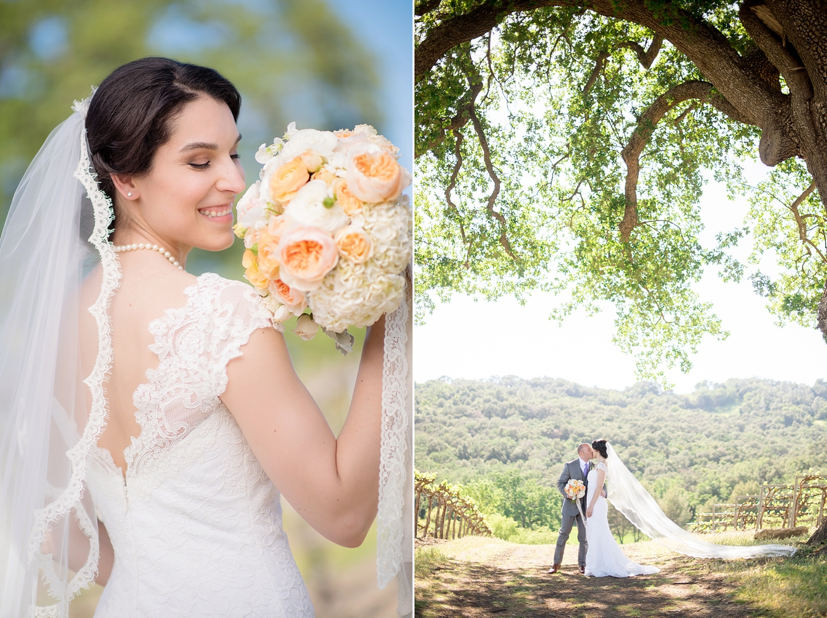 Vineyard elopement, bride and groom photos, with Mikkel Paige, destination wedding photographer. Held at HammerSky Vineyard, south of San Francisco. Bouquet of blush and white flowers tied with lace.