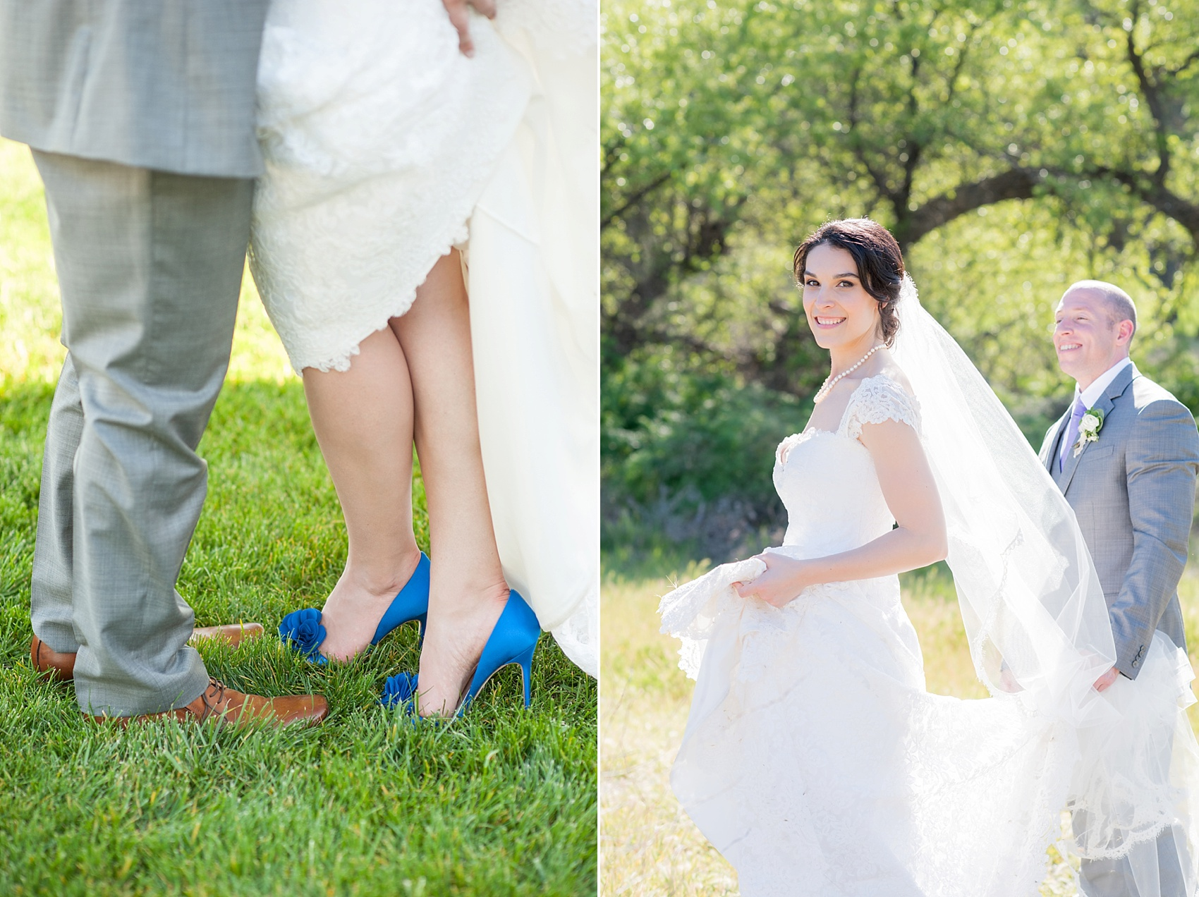 Vineyard elopement, bride and groom photos, with Mikkel Paige, destination wedding photographer. Held at HammerSky Vineyard, south of San Francisco. Cobalt blue Badgley Mischka bridal shoes.