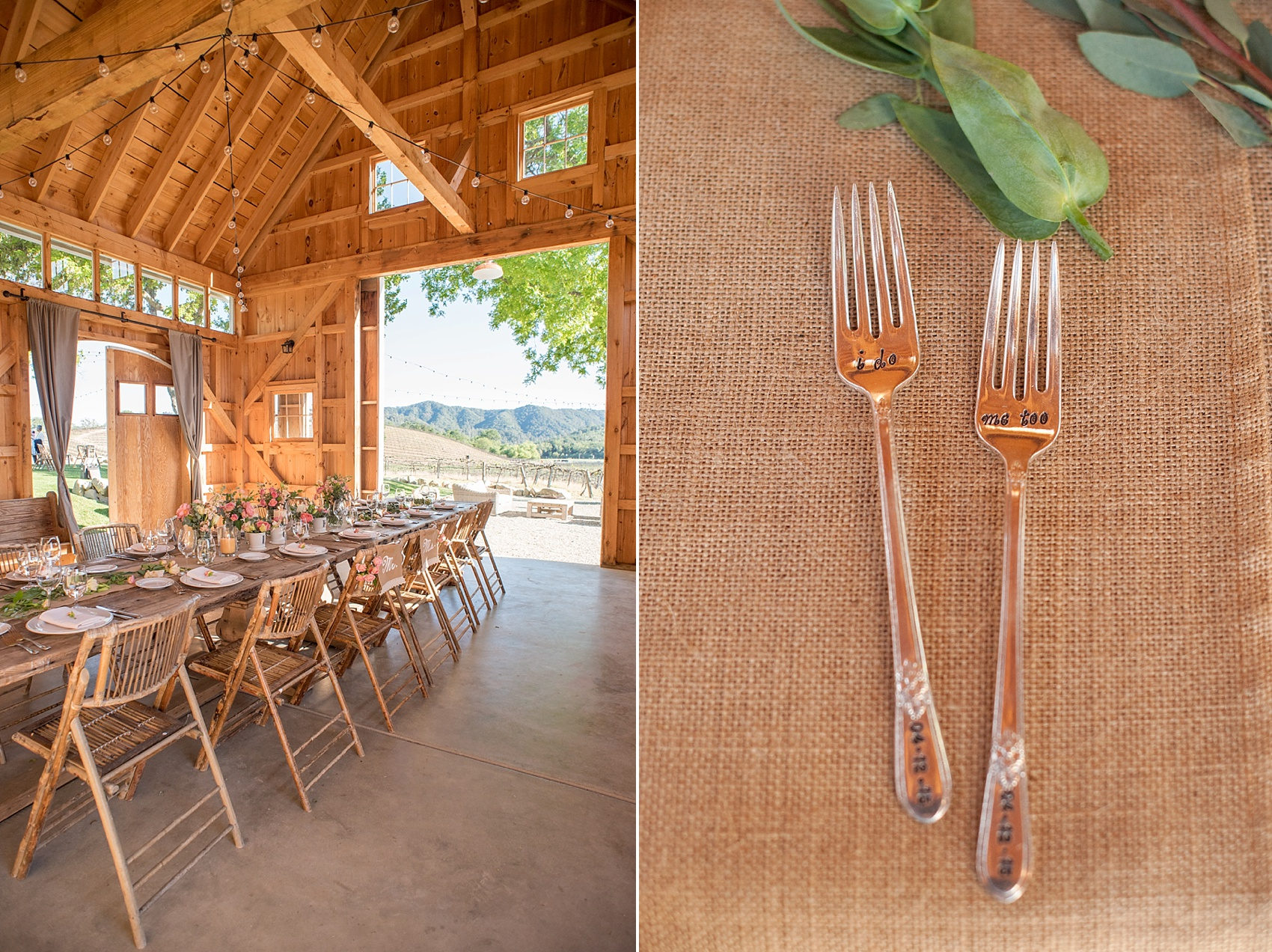 Spring vineyard elopement with pink flowers and barn reception. Custom cake forks for dessert. Photos by Mikkel Paige, destination wedding photographer. Held at HammerSky Vineyard, south of San Francisco.