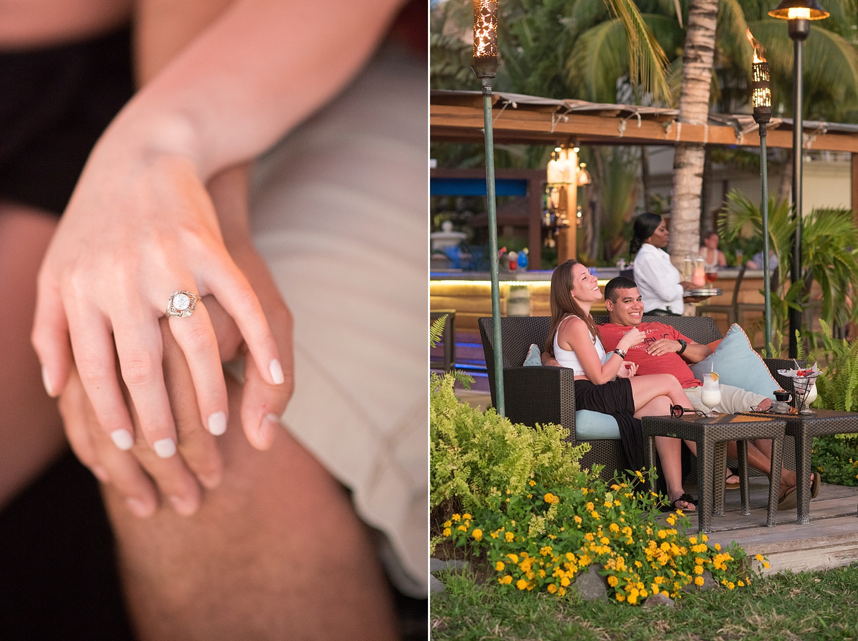 Vintage antique white gold diamond engagement ring. St. Lucia Proposal ideas - beachside romance at an oceanfront dinner at The Landings resort.  Photos by destination wedding photographer Mikkel Paige Photography.