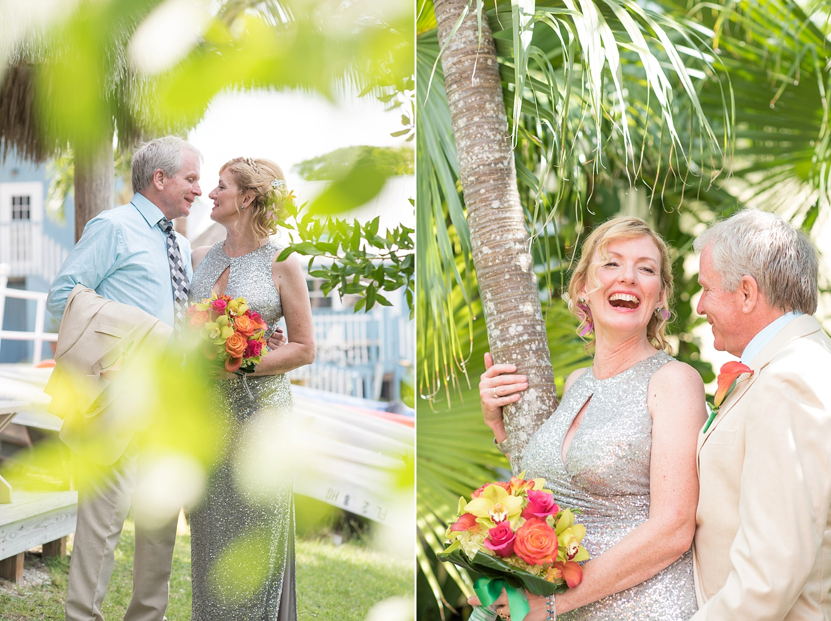 Silver sequin wedding gown for a small wedding on Captiva Island with a beach ceremony. Photos by Mikkel Paige Photography.