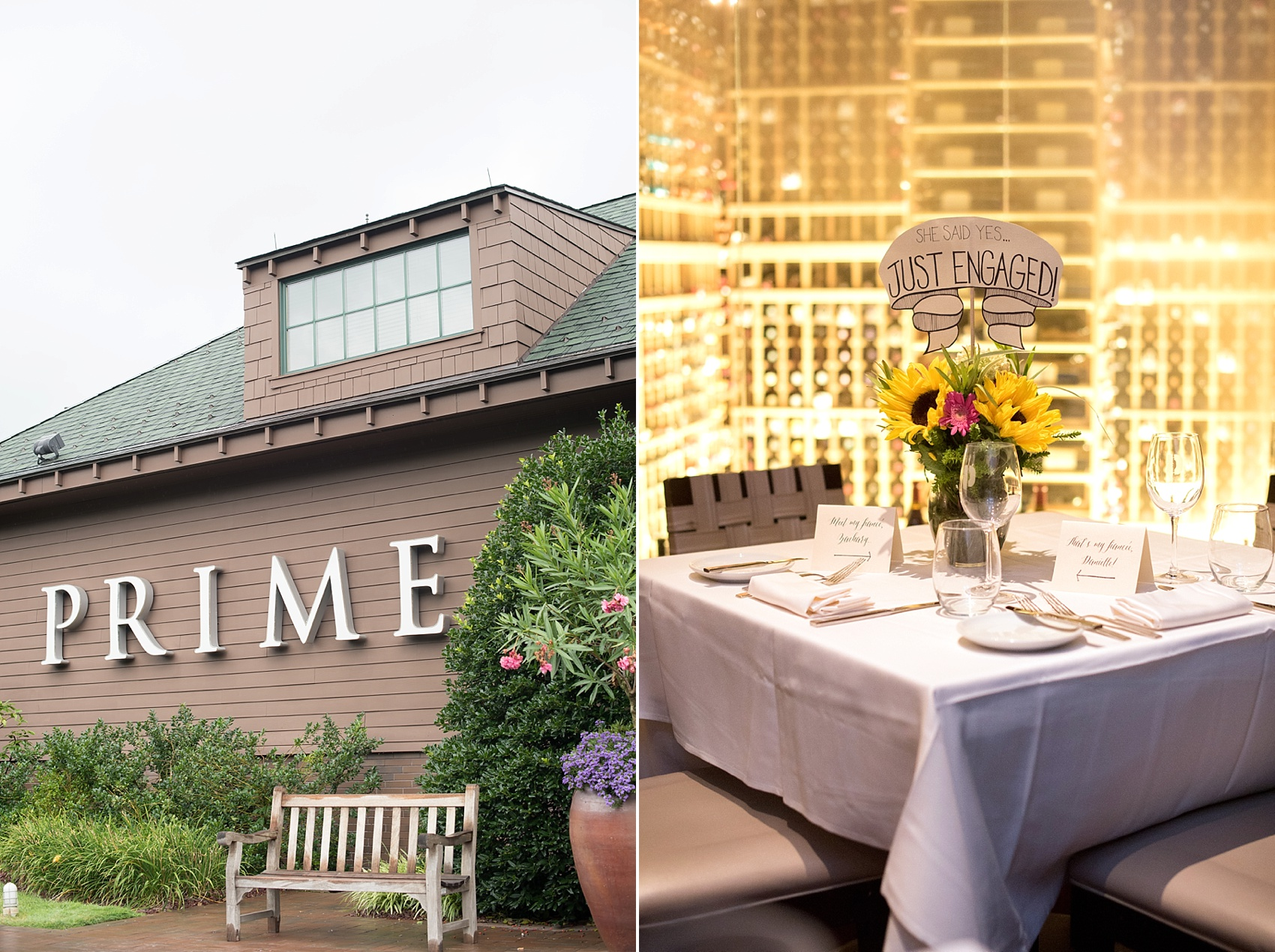 Long Island proposal ideas at Prime restaurant. Private wine cellar dining room. Photos by Mikkel Paige Photography, Long Island wedding photographer.