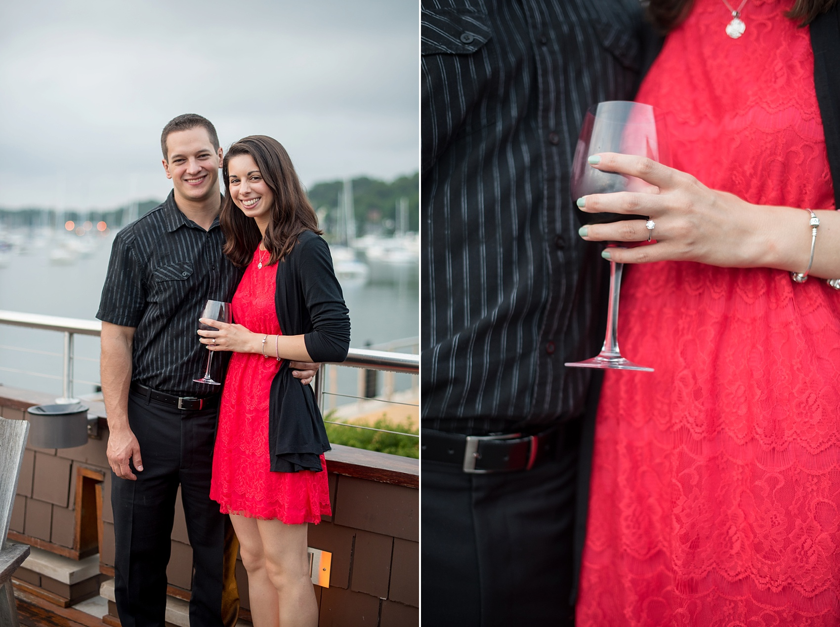 Long Island proposal ideas at Prime restaurant on Huntington harbor. Private wine cellar dining room. Photos by Mikkel Paige Photography, Long Island wedding photographer.