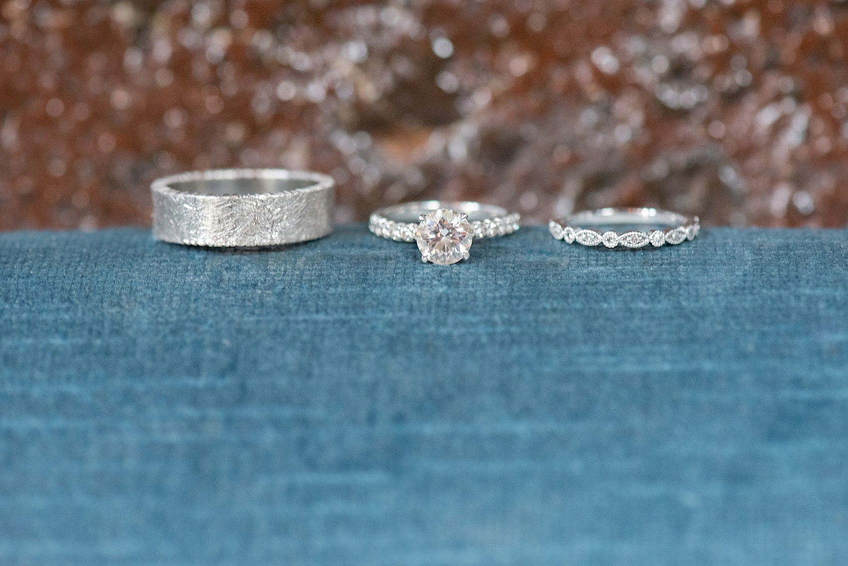 My Moon Brooklyn intimate wedding ring photos on blue velvet. Photos by Mikkel Paige Photography.