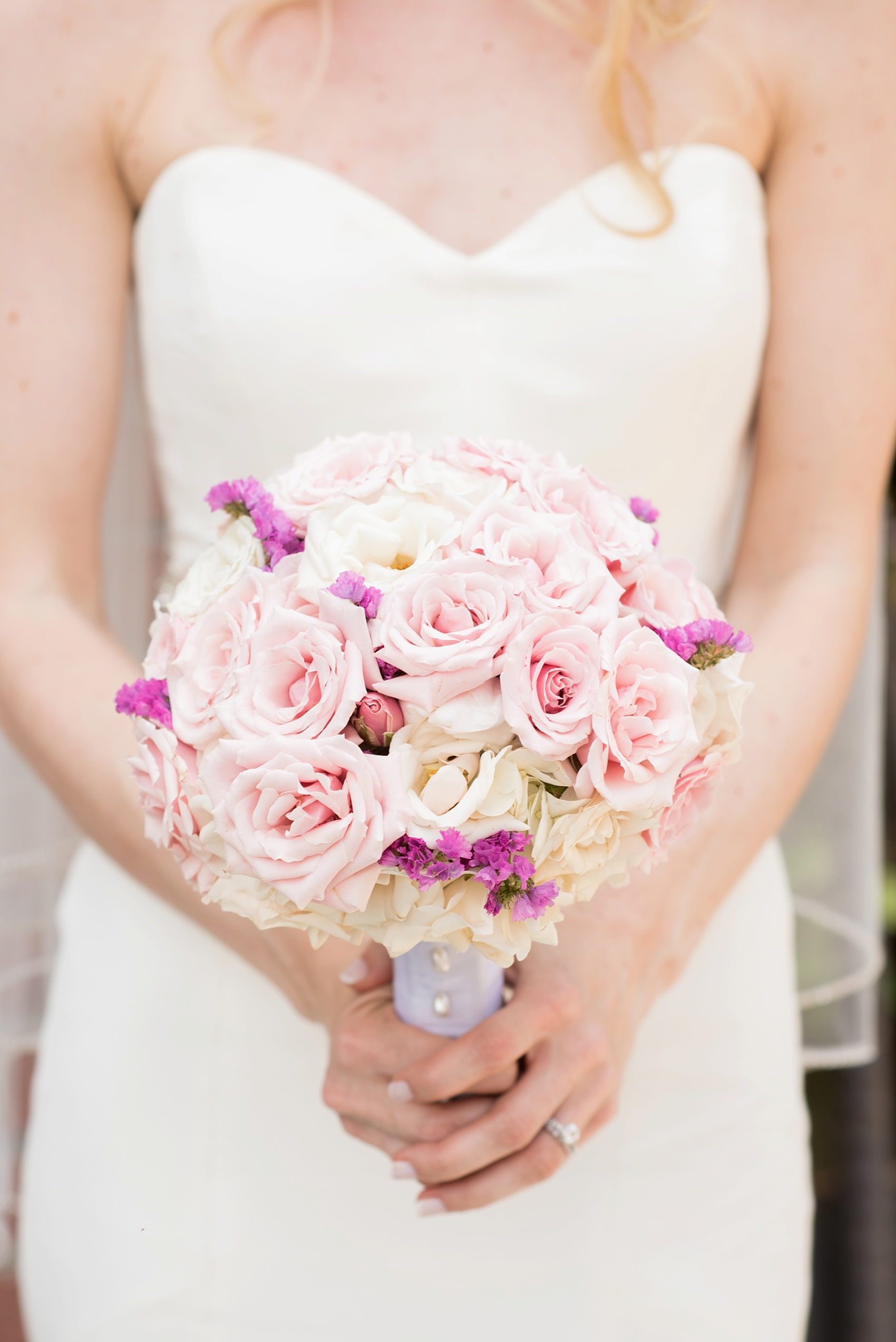 Pink rose bouquet for a My Moon Brooklyn, Williamsburg NYC, intimate wedding. Photos by Mikkel Paige Photography.