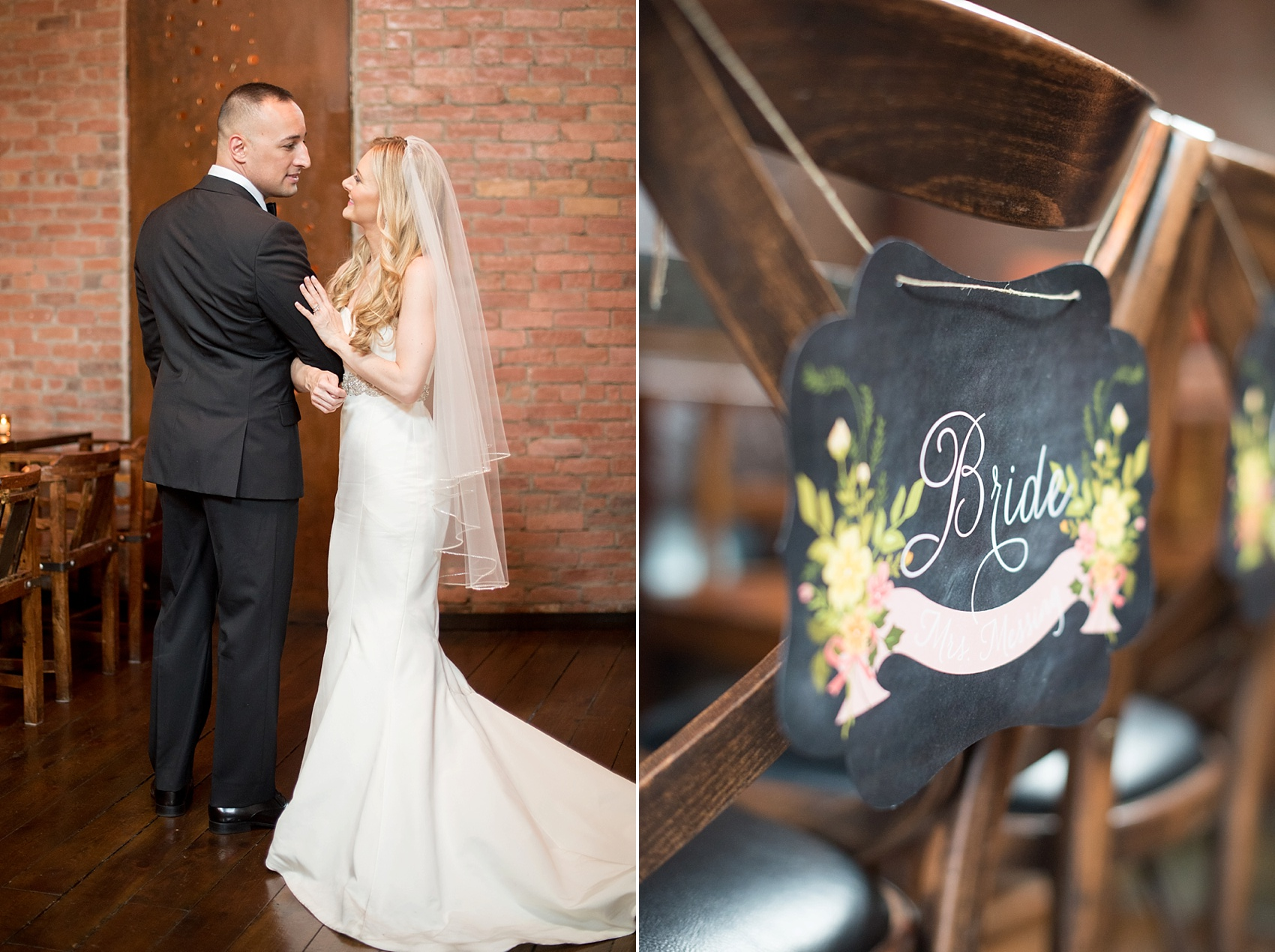 """Custom """"bride"""" chalkboard style chair sign for a My Moon Brooklyn, Williamsburg NYC, intimate wedding. Photos by Mikkel Paige Photography."""