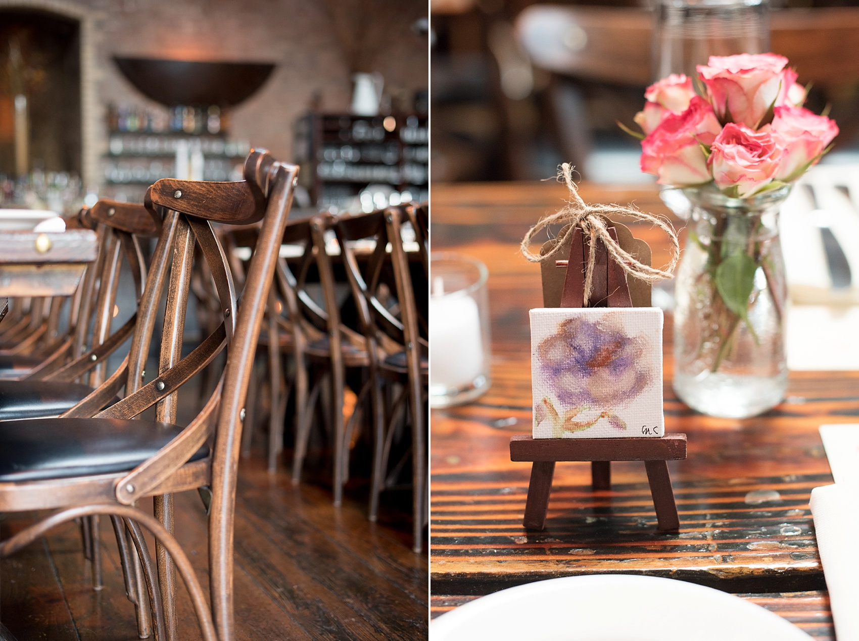 Rustic romantic My Moon Brooklyn, Williamsburg NYC, intimate wedding with custom floral canvas gifts. Photos by Mikkel Paige Photography.